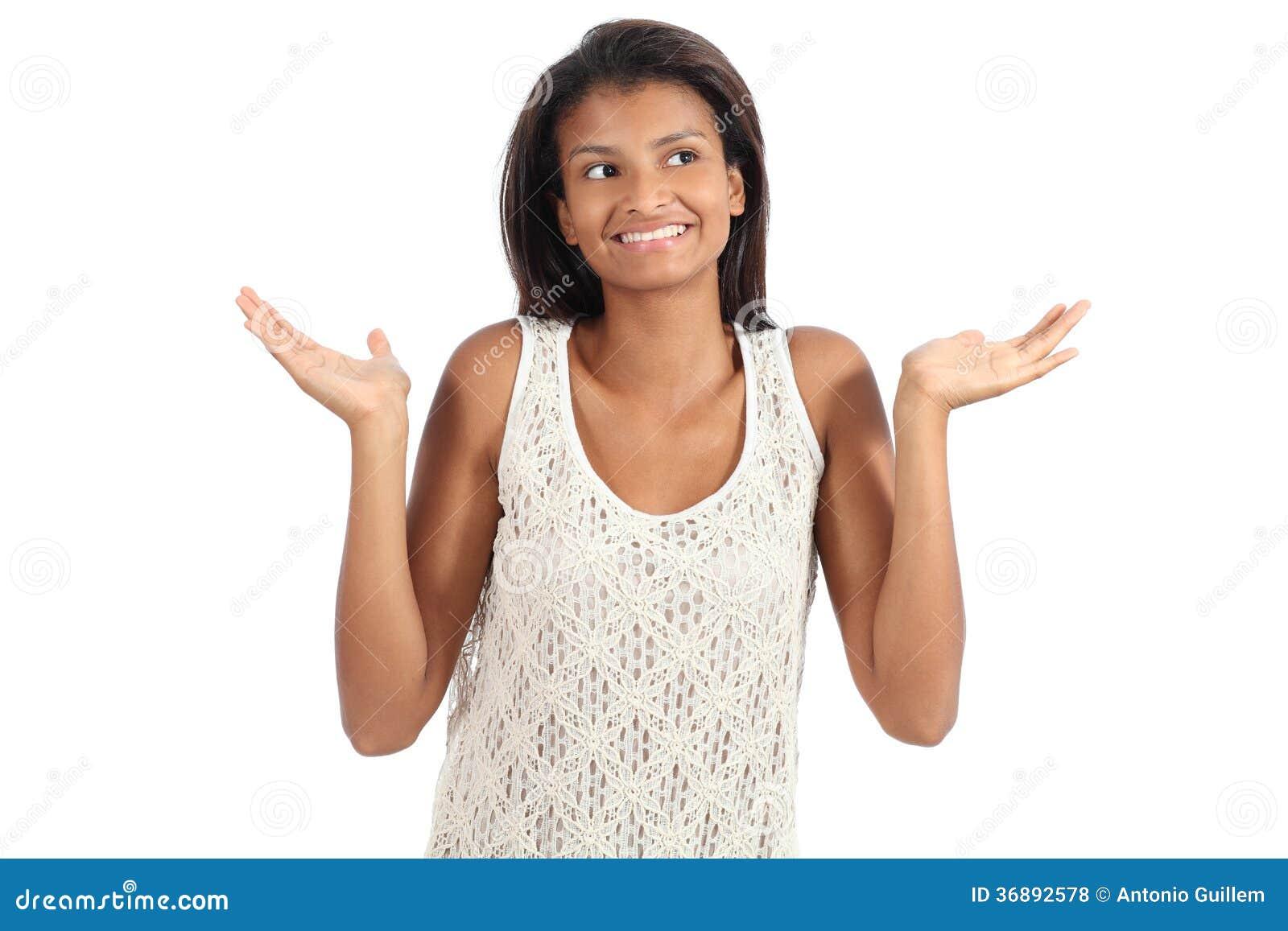 Download Bella Donna Afroamericana Con Un Dubbio Che Scrolla Le Spalle Le Spalle Fotografia Stock - Immagine di confuso, afro: 36892578