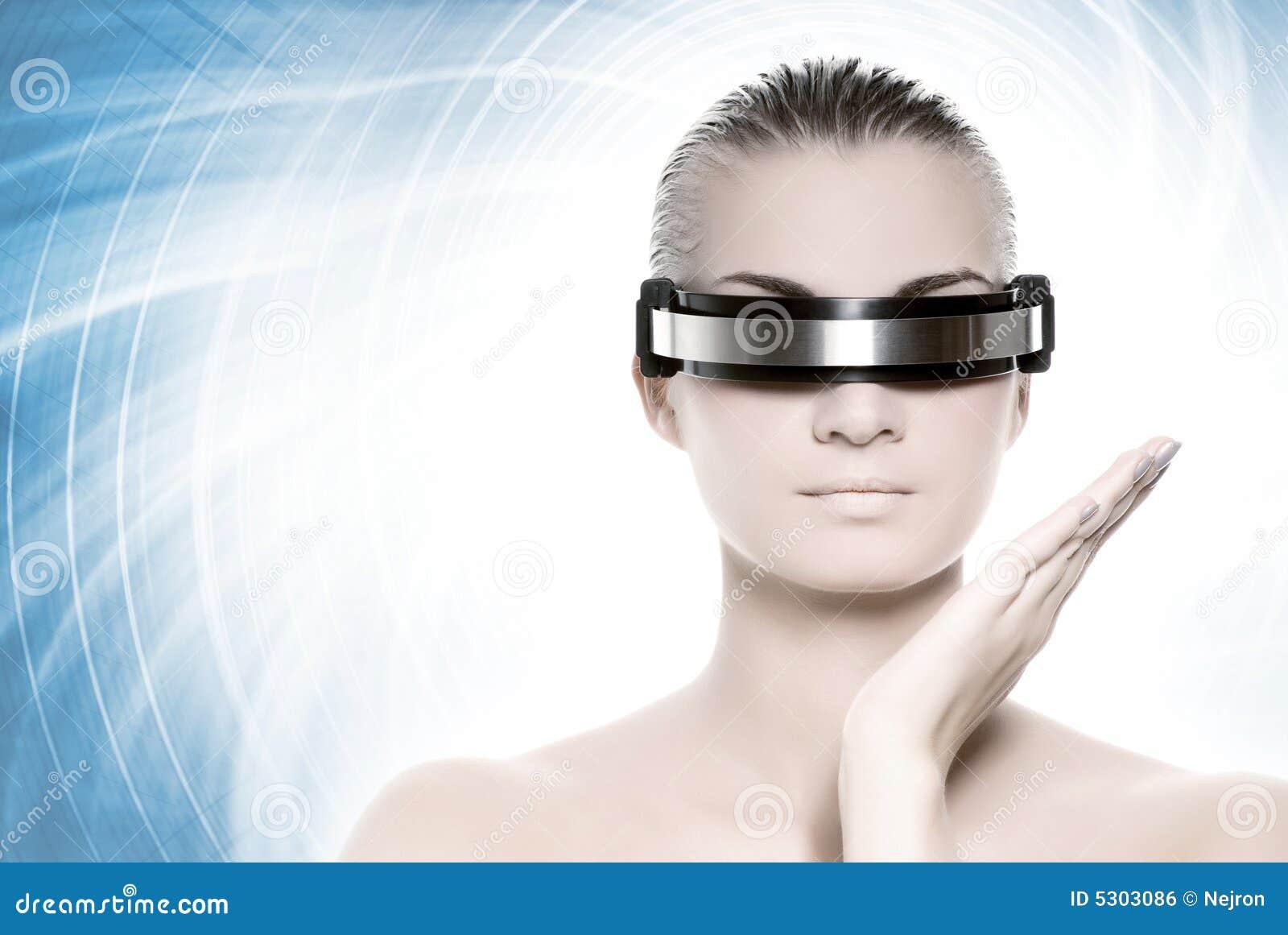 Download Bella donna di cybrer fotografia stock. Immagine di internet - 5303086