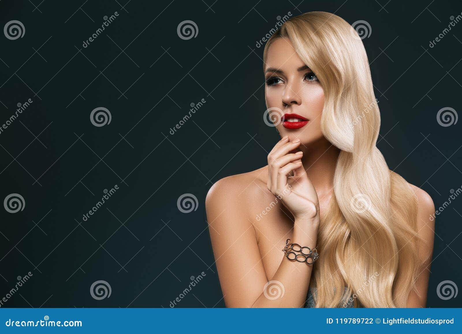 Bella Donna Nuda Bionda Con Capelli Lunghi, Fotografia ...