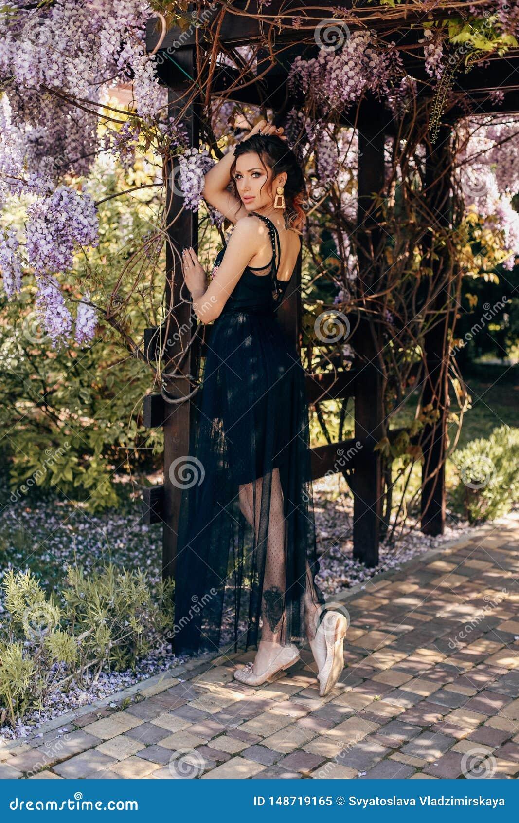 Bella Donna Sensuale Con Capelli Scuri In Vestiti Eleganti ...