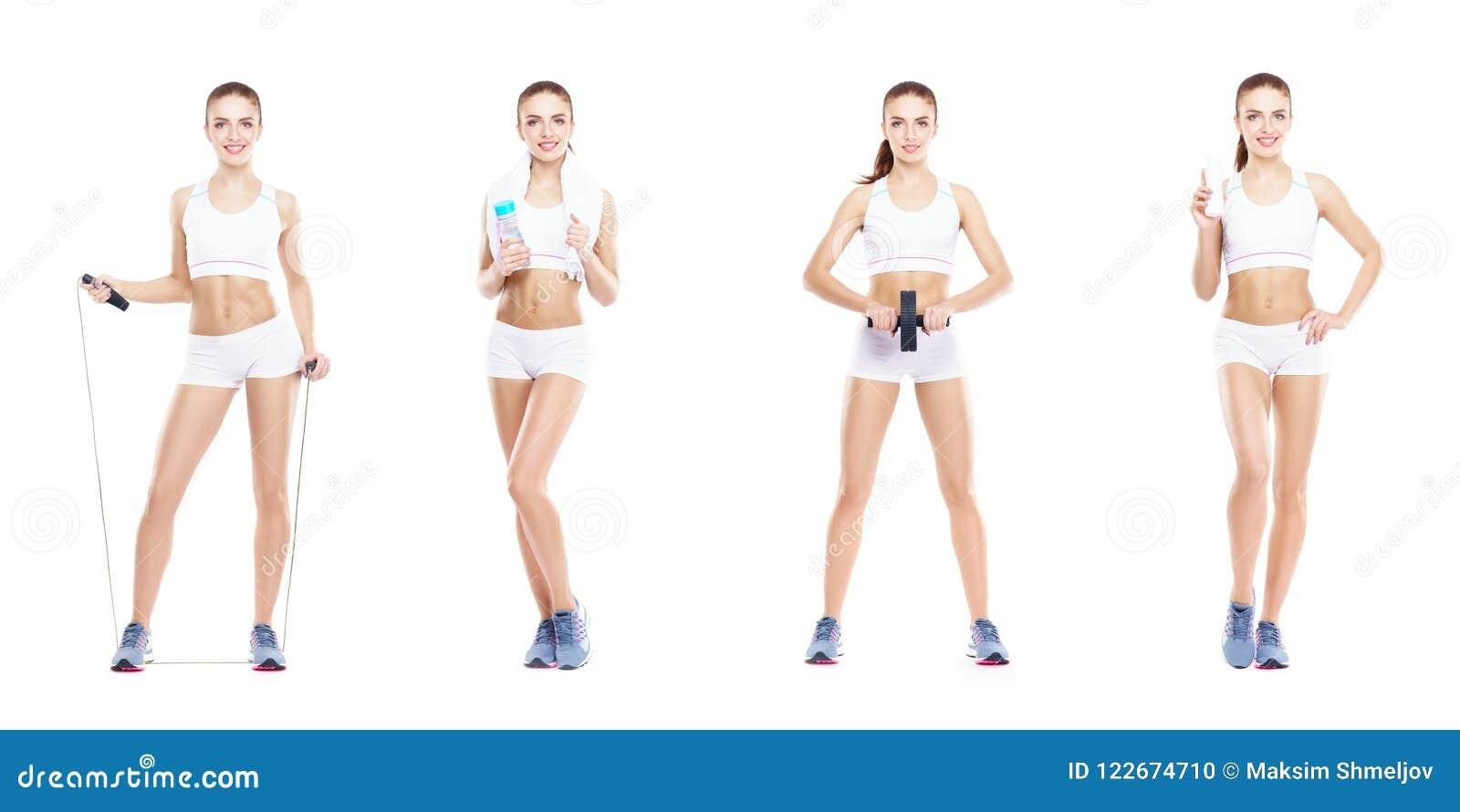 Bella e donna adatta in un allenamento di forma fisica Collage isolato Concetto di sport, di nutrizione, di salute e di perdita d