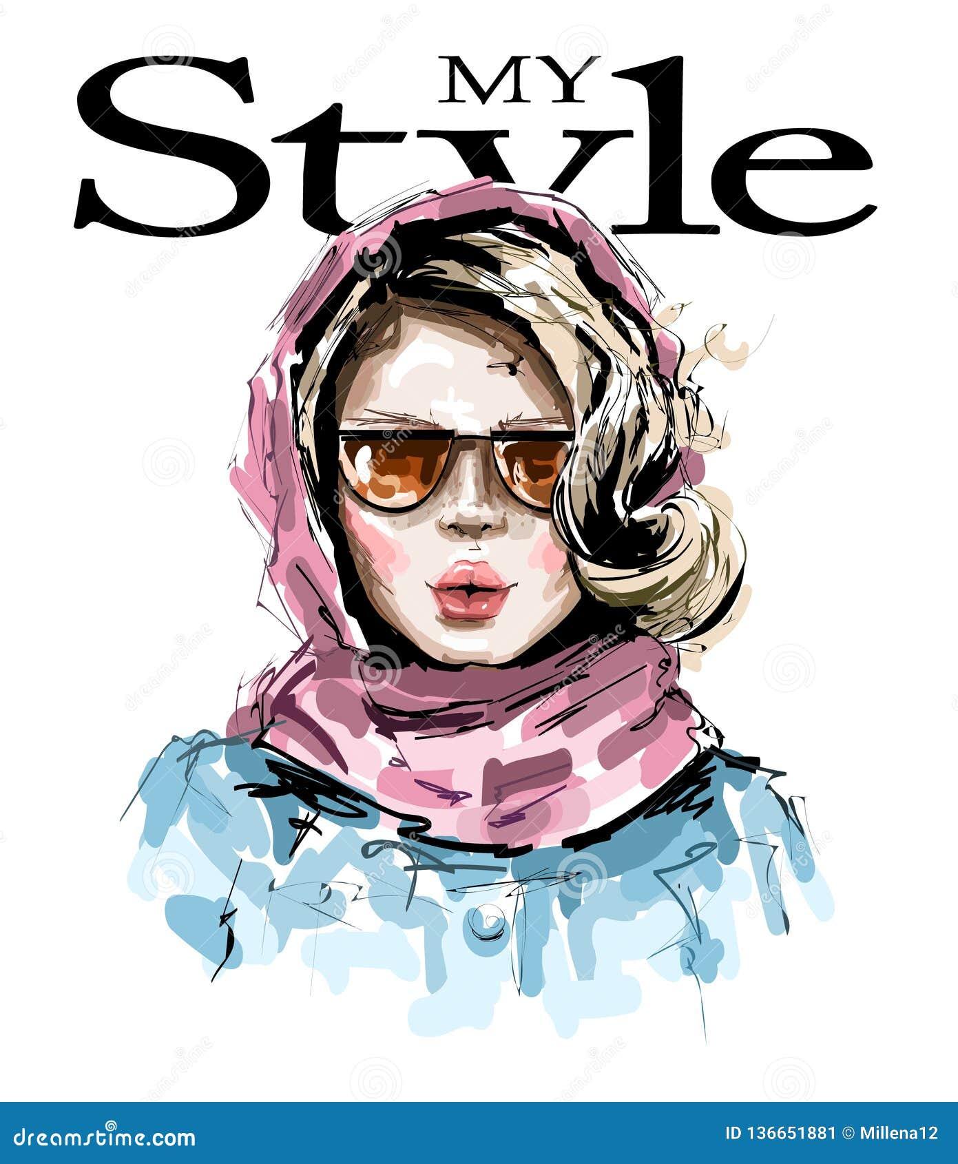 Bella giovane donna disegnata a mano con la sciarpa rosa sulla sua testa Ragazza elegante alla moda Sguardo della donna di modo