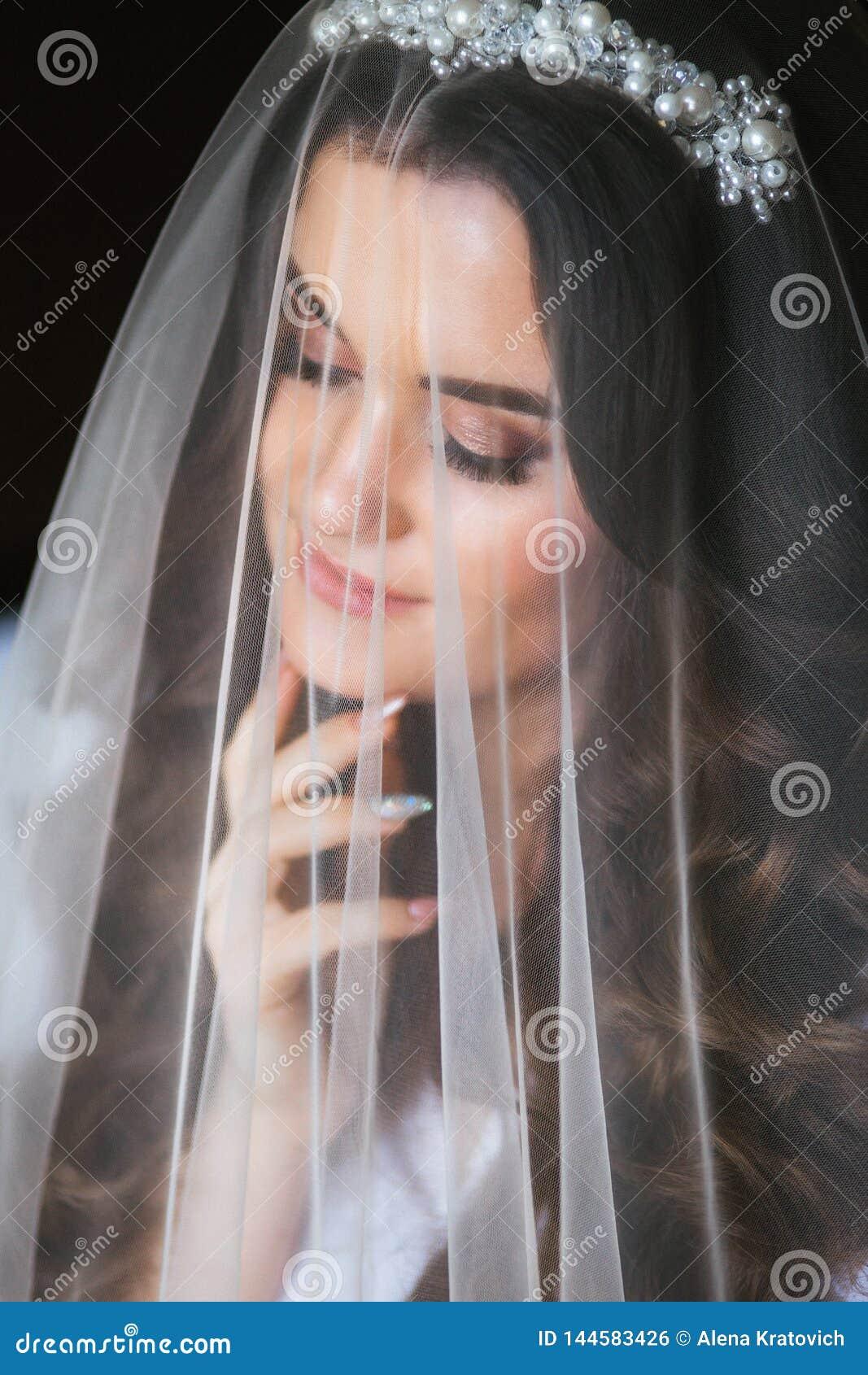 Bella giovane sposa con trucco di nozze e acconciatura in camera da letto Bello ritratto della sposa con il velo sopra il suo fro