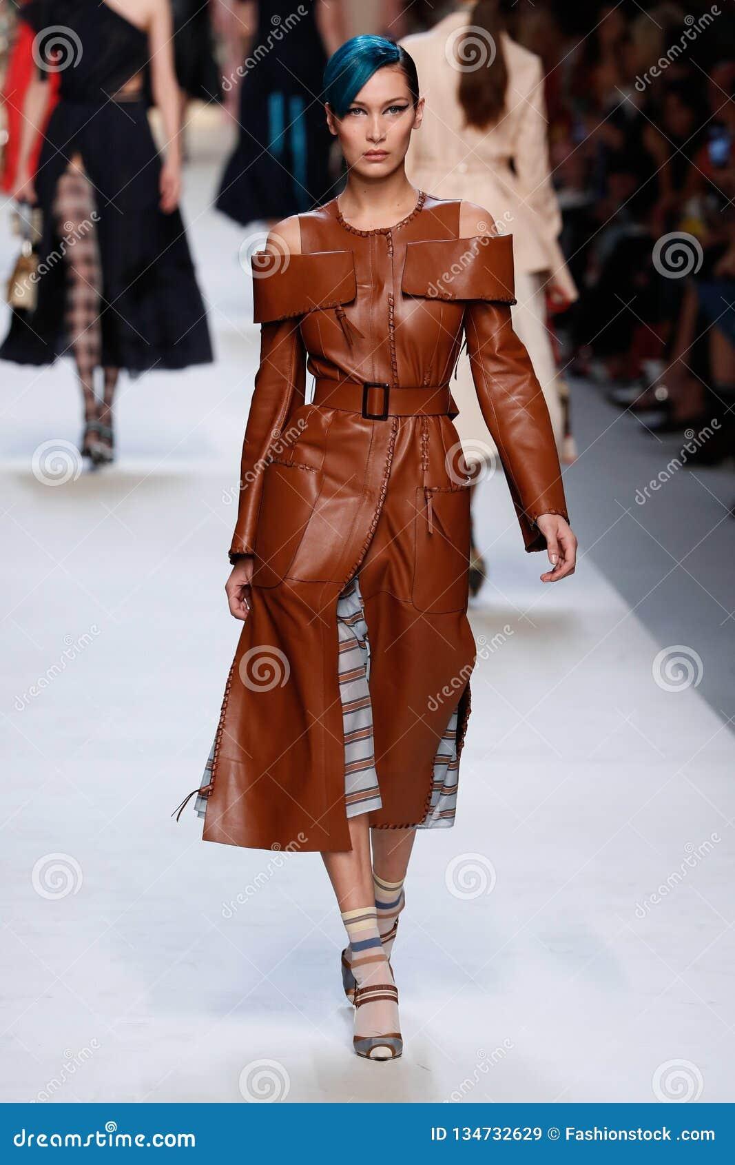 6ea3494059b Bella Hadid Walks The Runway At The Fendi Show During Milan Fashion ...