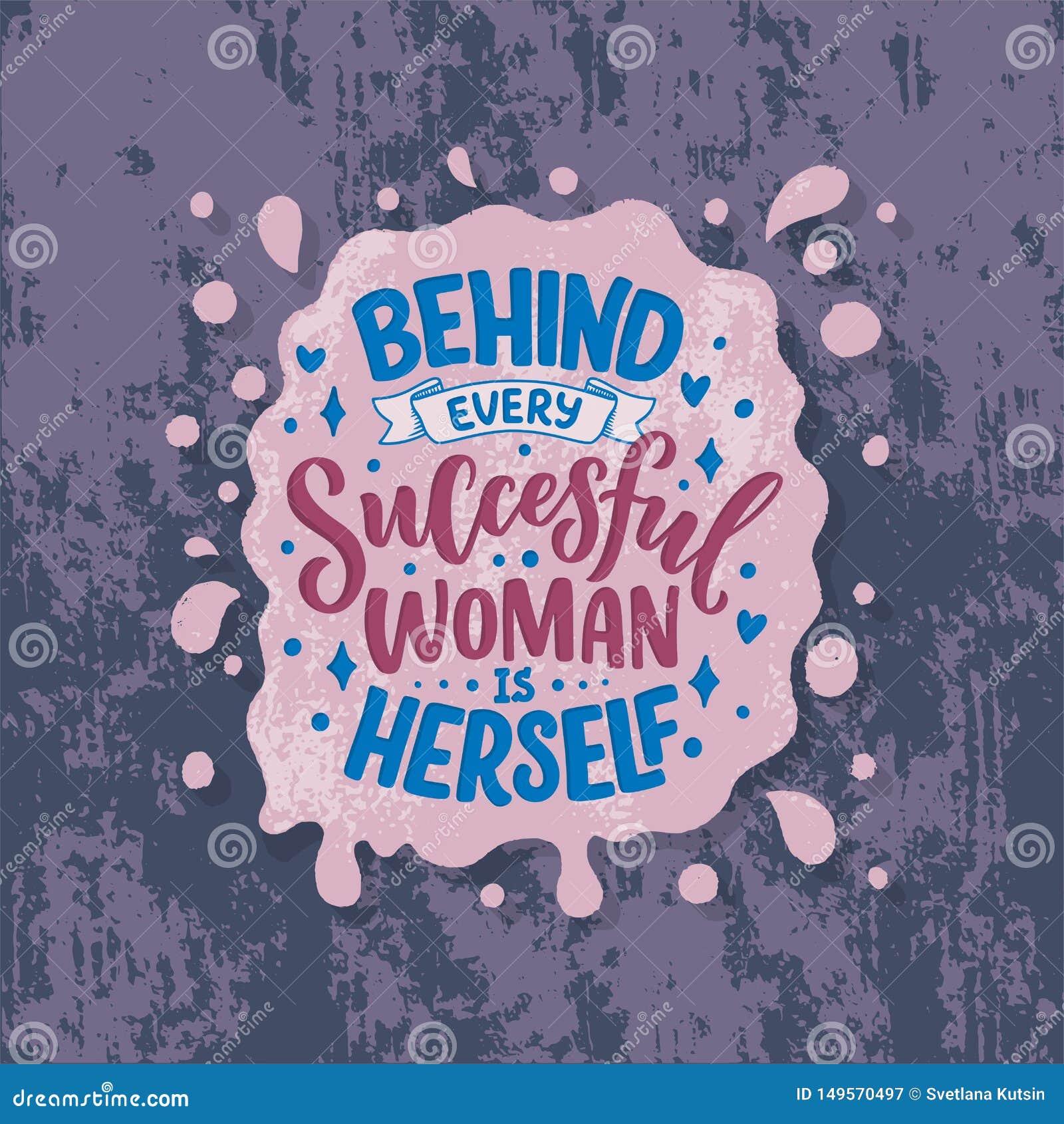 Bella illustrazione con iscrizione circa la donna Citazione motivazionale ispiratrice scritta a mano elemento di progettazione de