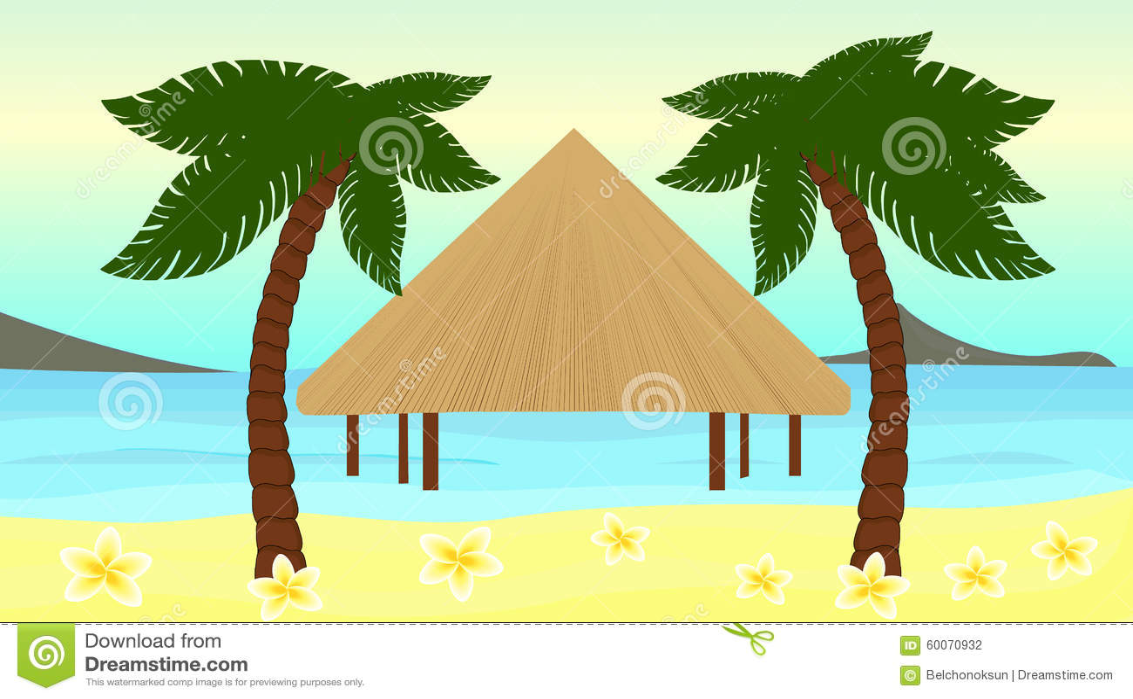 Bella illustrazione di vettore della spiaggia dell isola tropicale