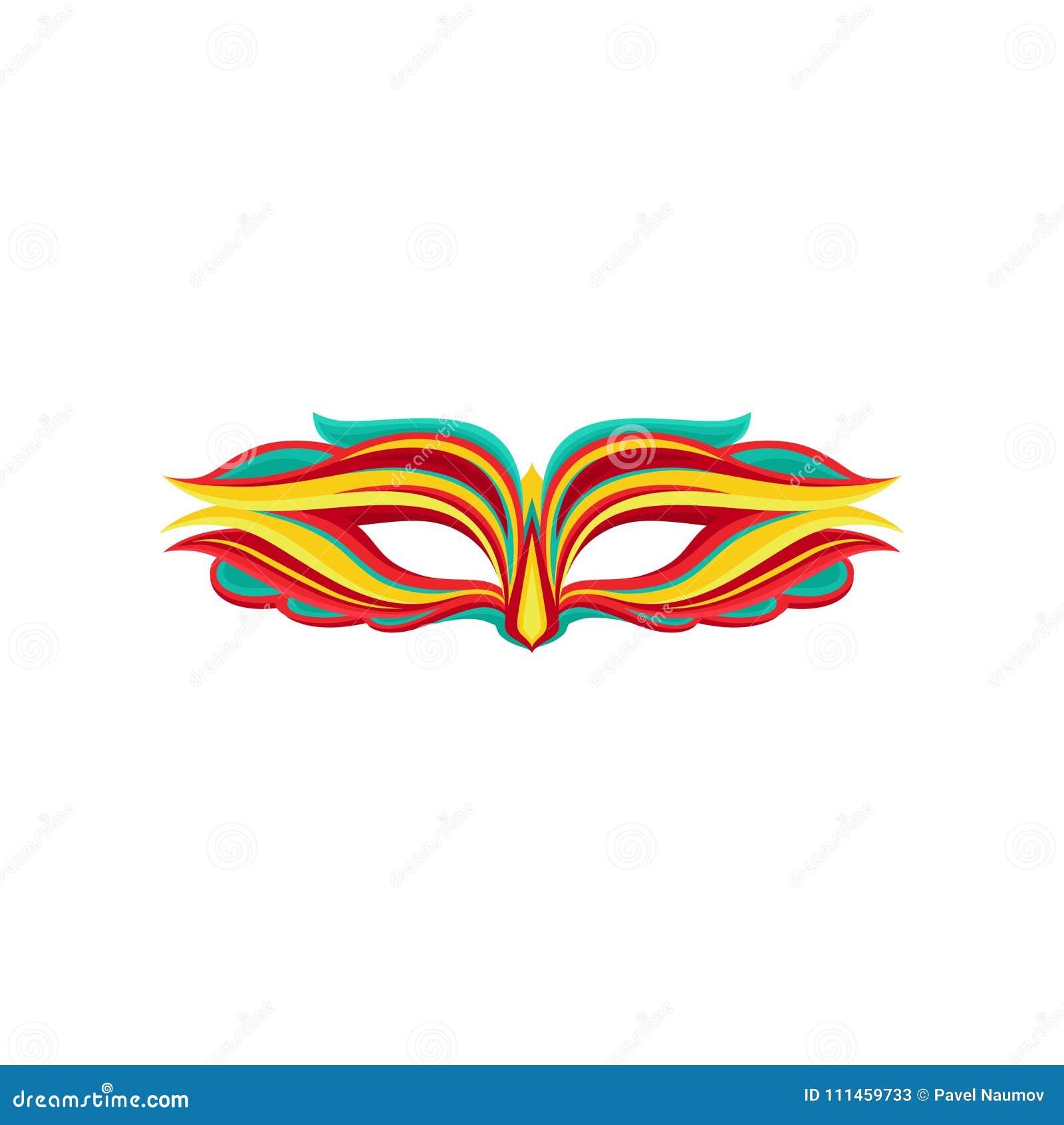 Bella maschera di travestimento nello stile piano Attributo del costume di festa Elemento grafico per la cartolina d auguri, part