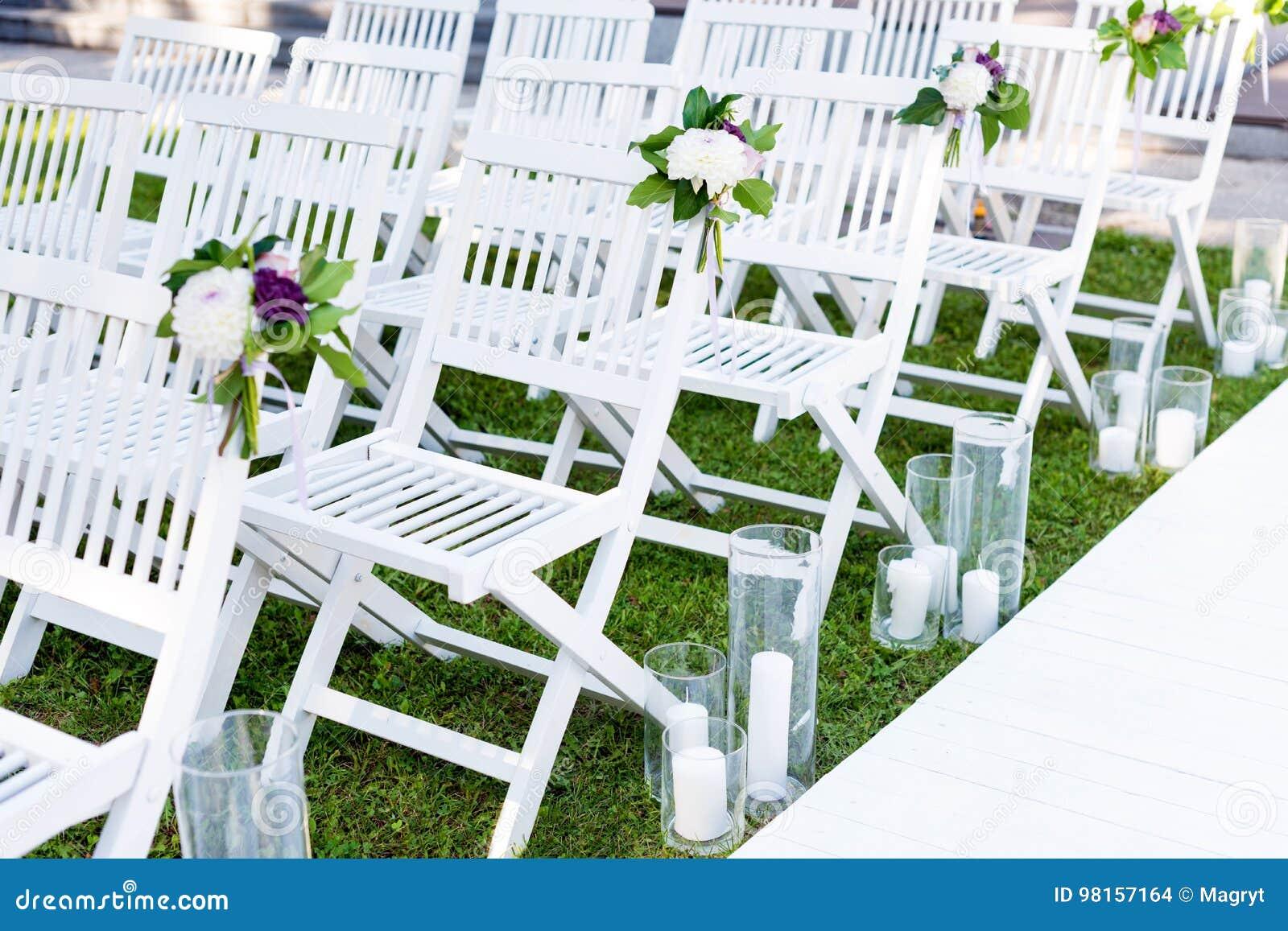 Candele bianche da giardino : Decorazione di nozze di cerimonia di nozze all aperto candele
