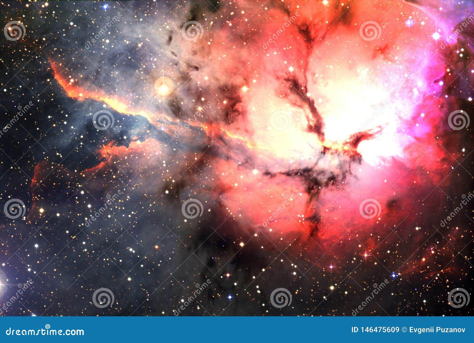 Bella nebulosa e stelle luminose nello spazio cosmico, universo misterioso d ardore