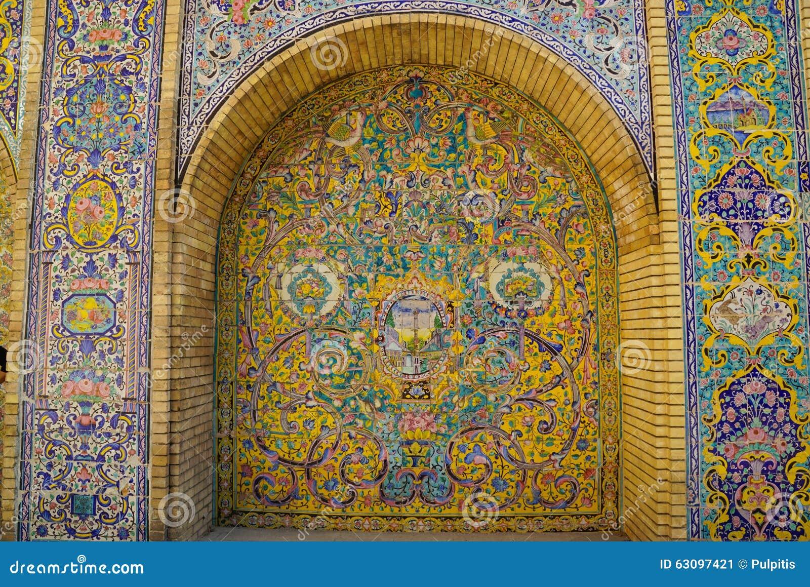 Bella parete della piastrella di ceramica del palazzo di golestan iran fotografia stock - Casa della piastrella ...