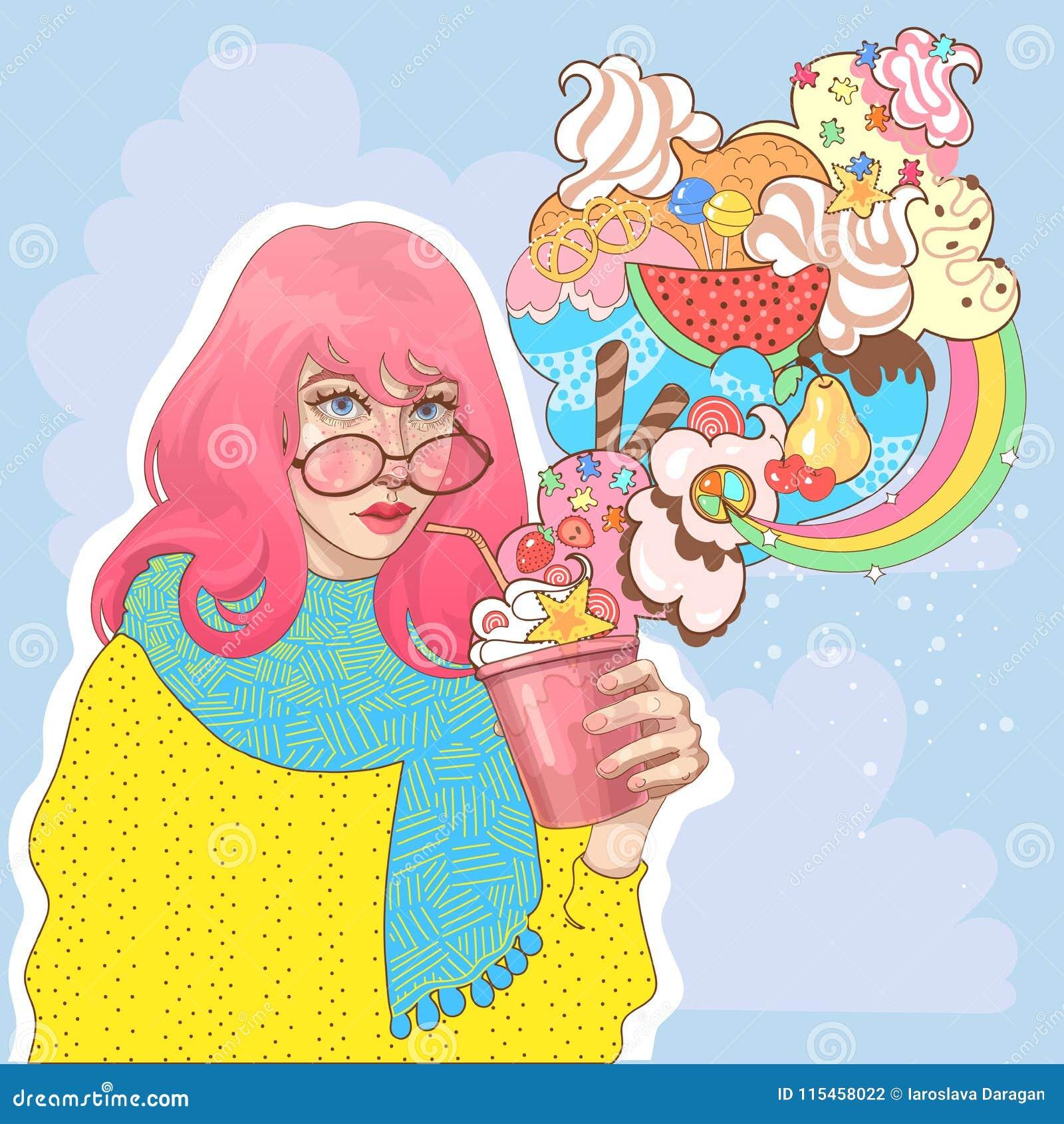 Bella ragazza con un vetro del yogurt del gelato
