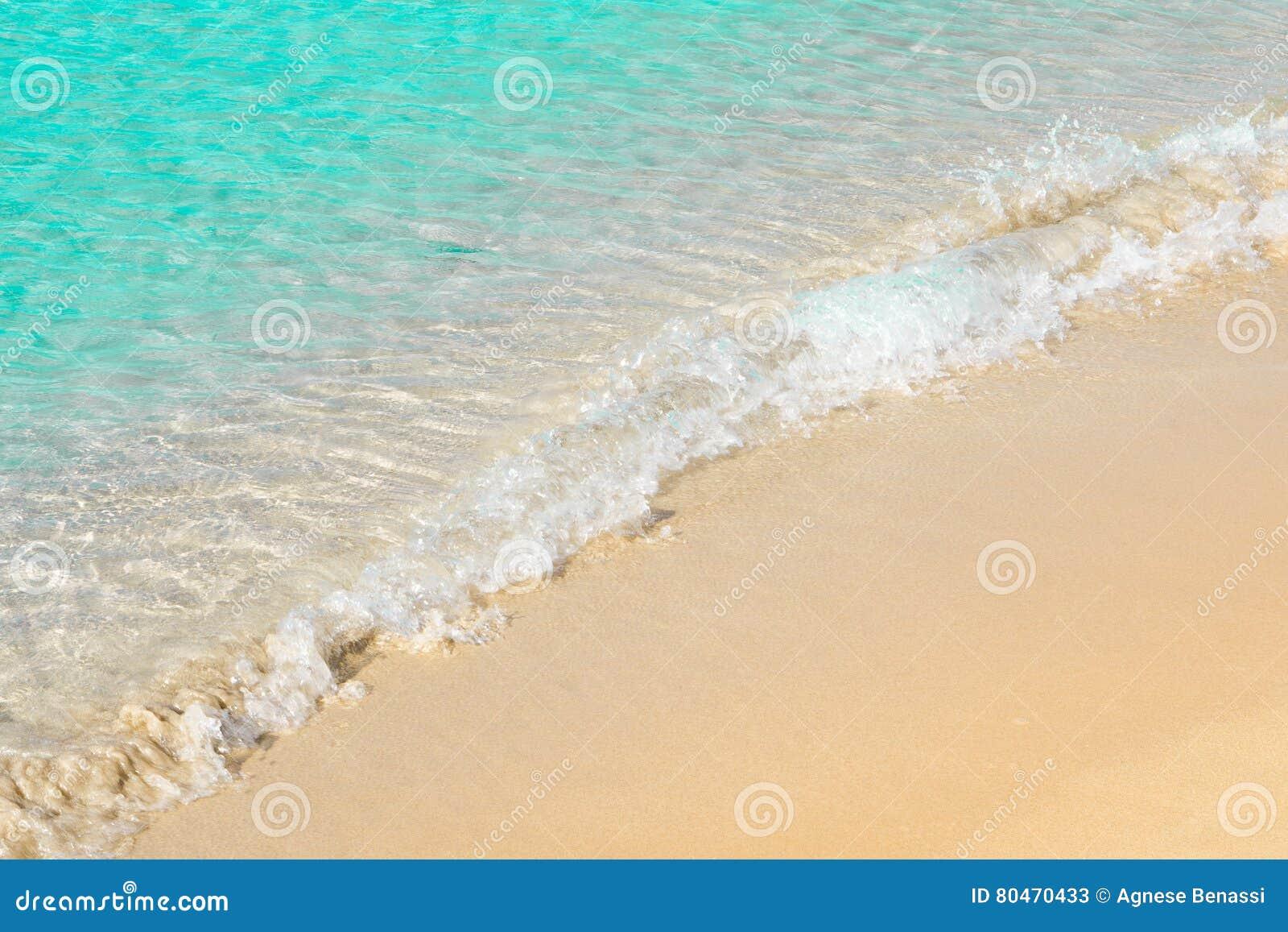 Bella Spiaggia Con La Schiuma Del Mare E La Sabbia Acqua Di Mare