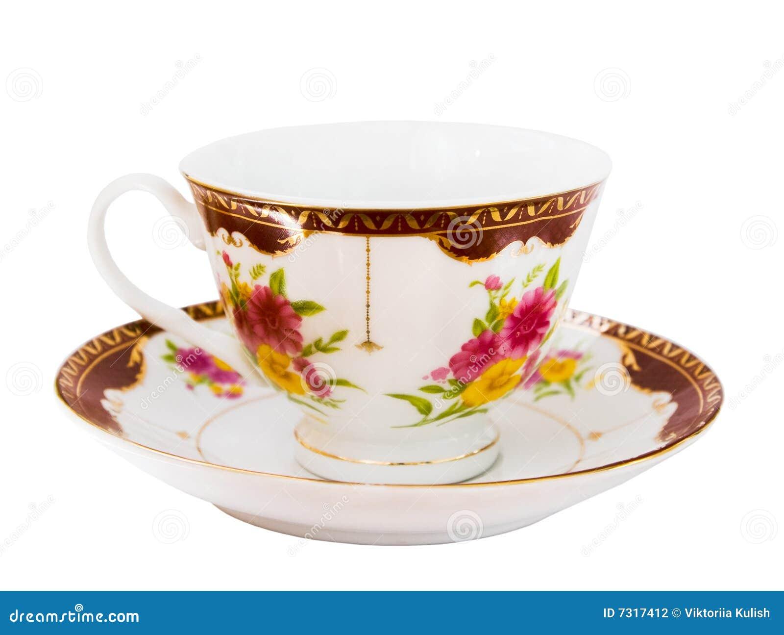 Bella tazza con il piattino