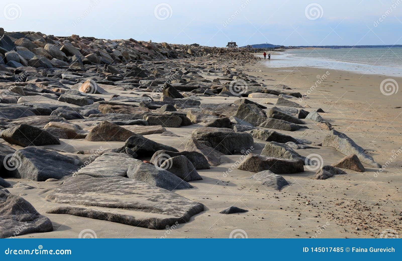 Bella vista iniziale della molla della spiaggia di Duxbury