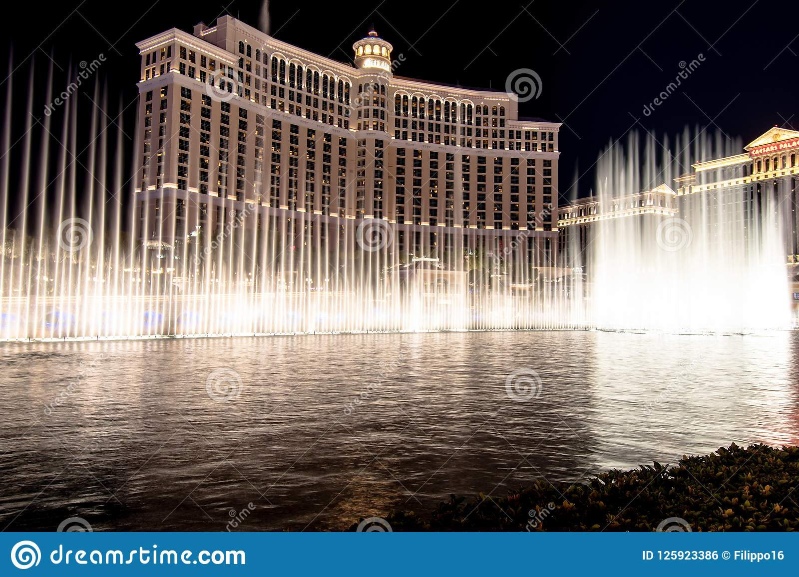 Las Vegas, NV, USA 09032018: stunning view of Bellagio Fountain Show at night