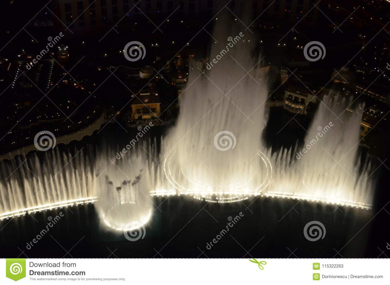 Bellagio Hotel and Casino, water, reflection, fountain, night