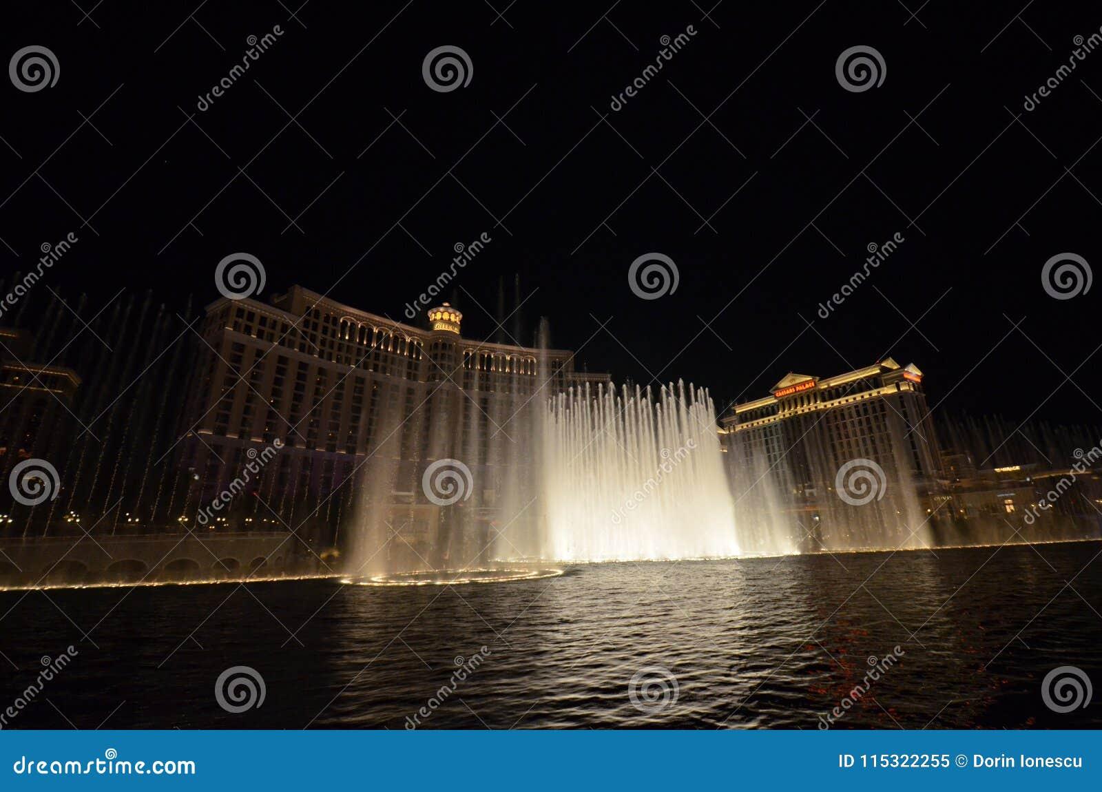 Bellagio Hotel and Casino, Bellagio, water, fountain, landmark, night