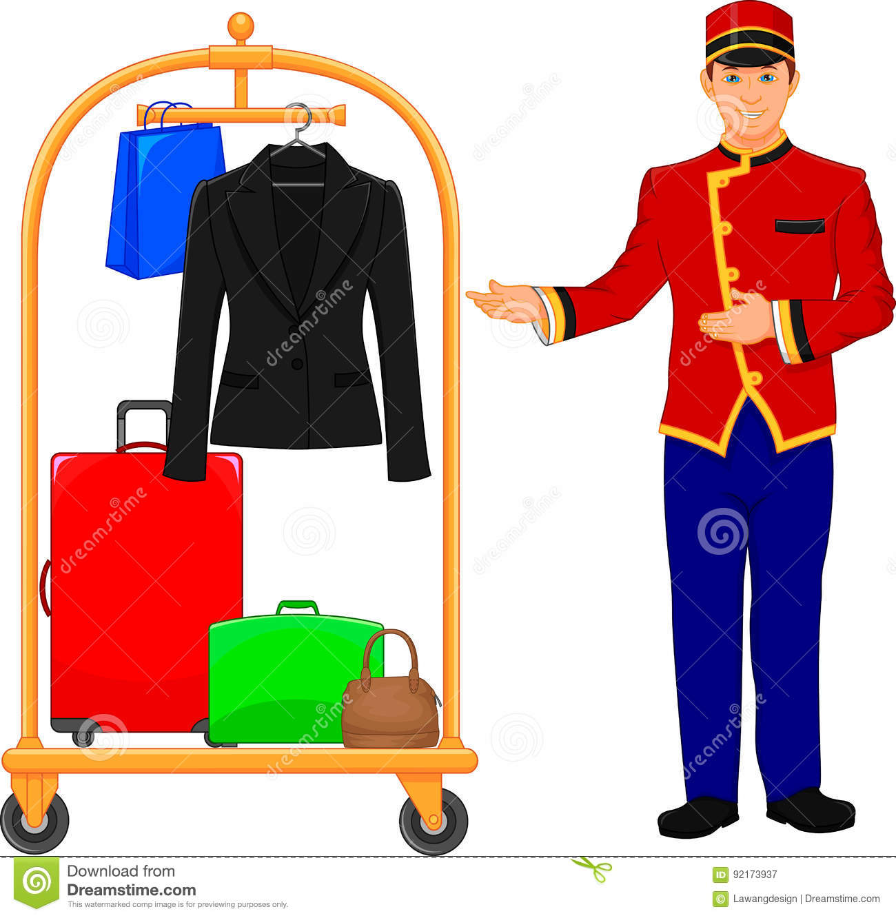 Bellboy Hotel Service And Luggage Trolley Vector Illustration Of