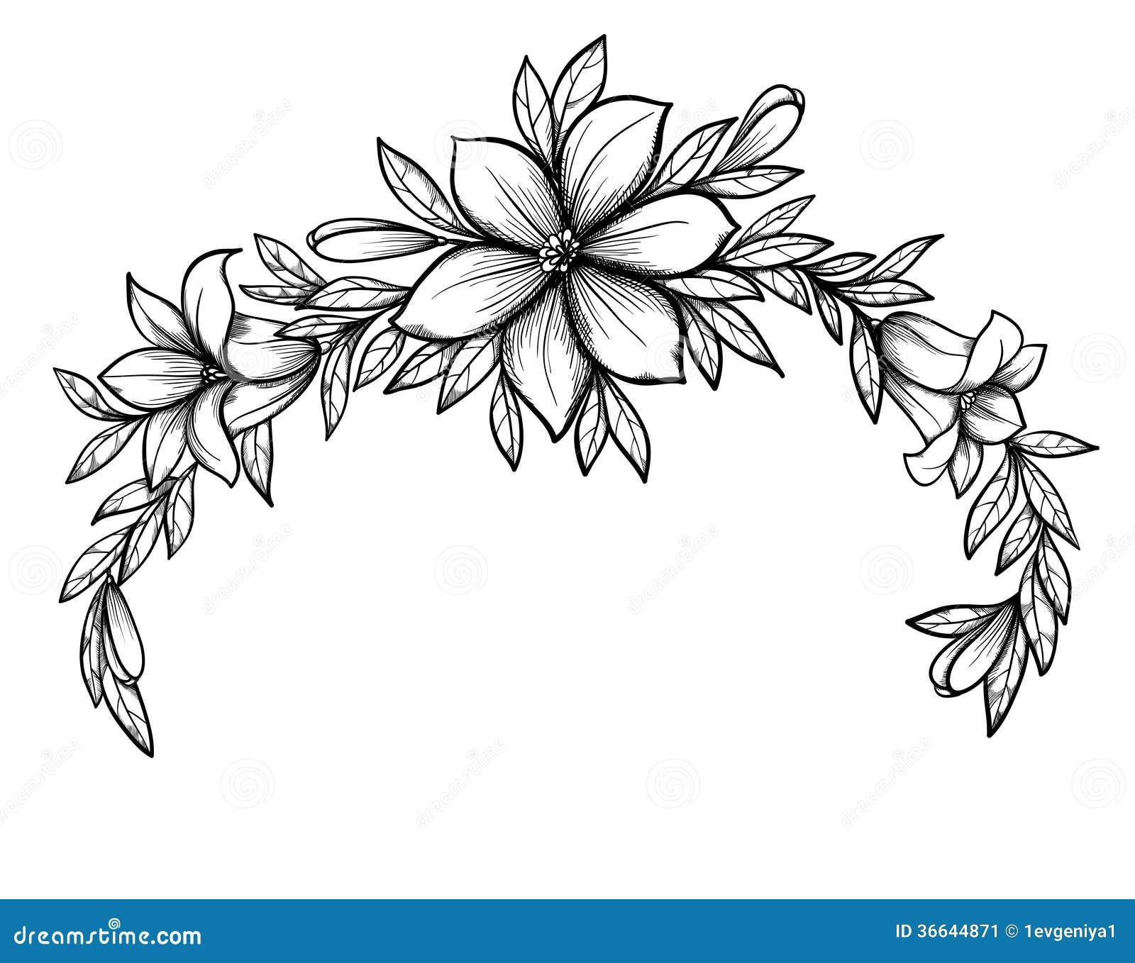 Belle branche de lis de dessin graphique avec des feuilles et des bourgeons des fleurs - Belle fleur a dessiner ...