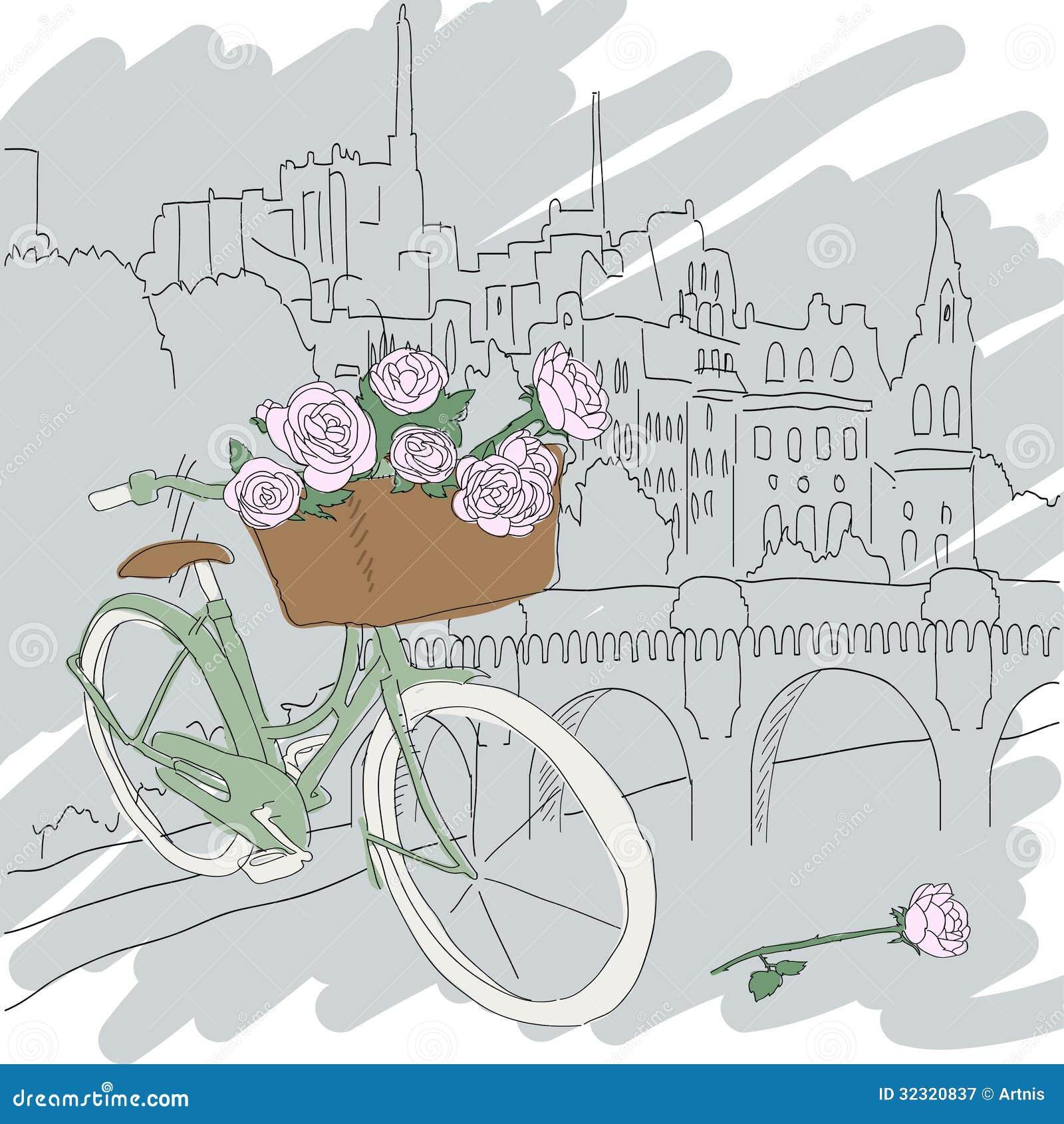 belle carte avec la bicyclette assez verte et les roses jaunes sur le fond de ville illustration. Black Bedroom Furniture Sets. Home Design Ideas