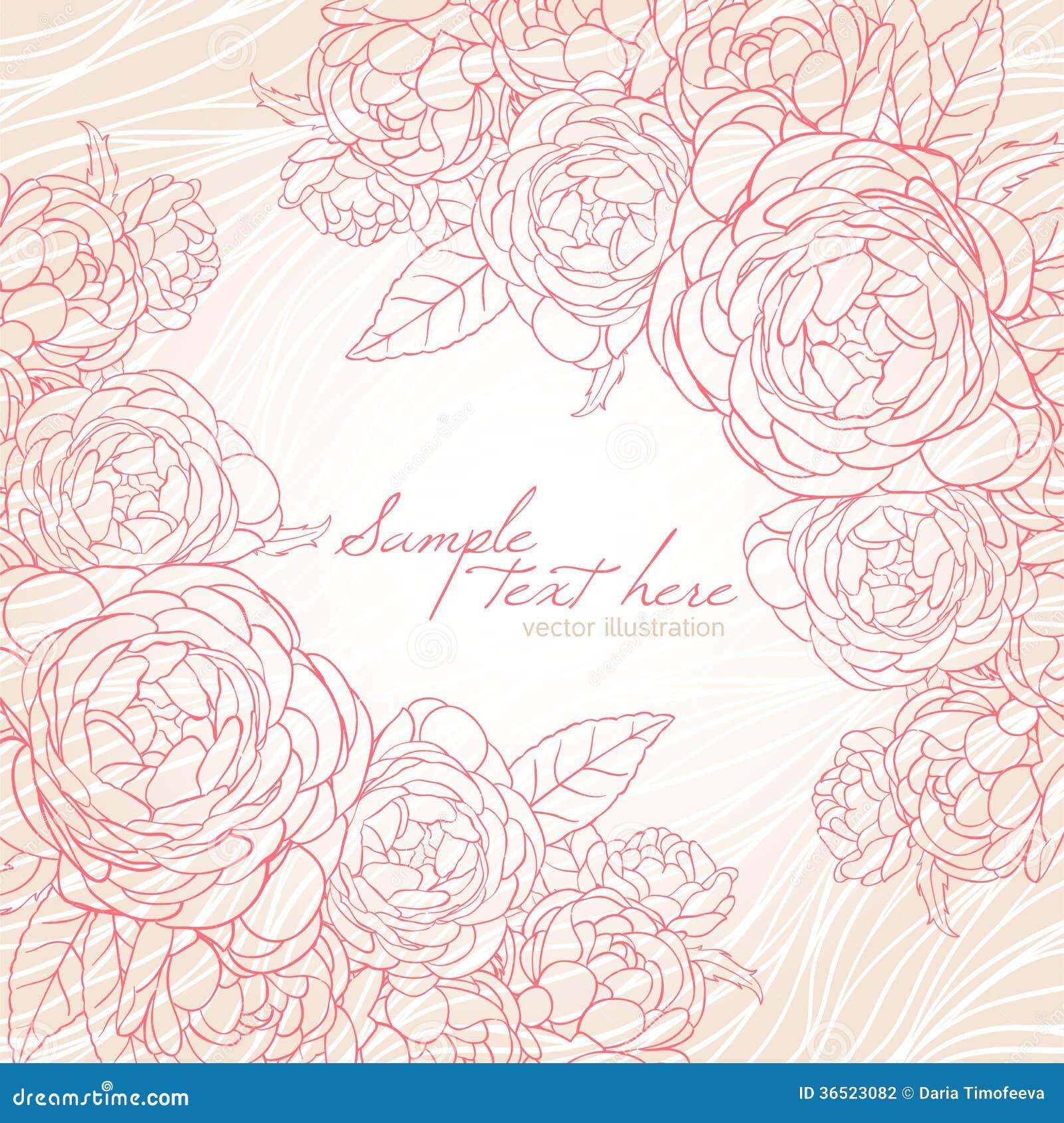 Belle carte avec les roses roses