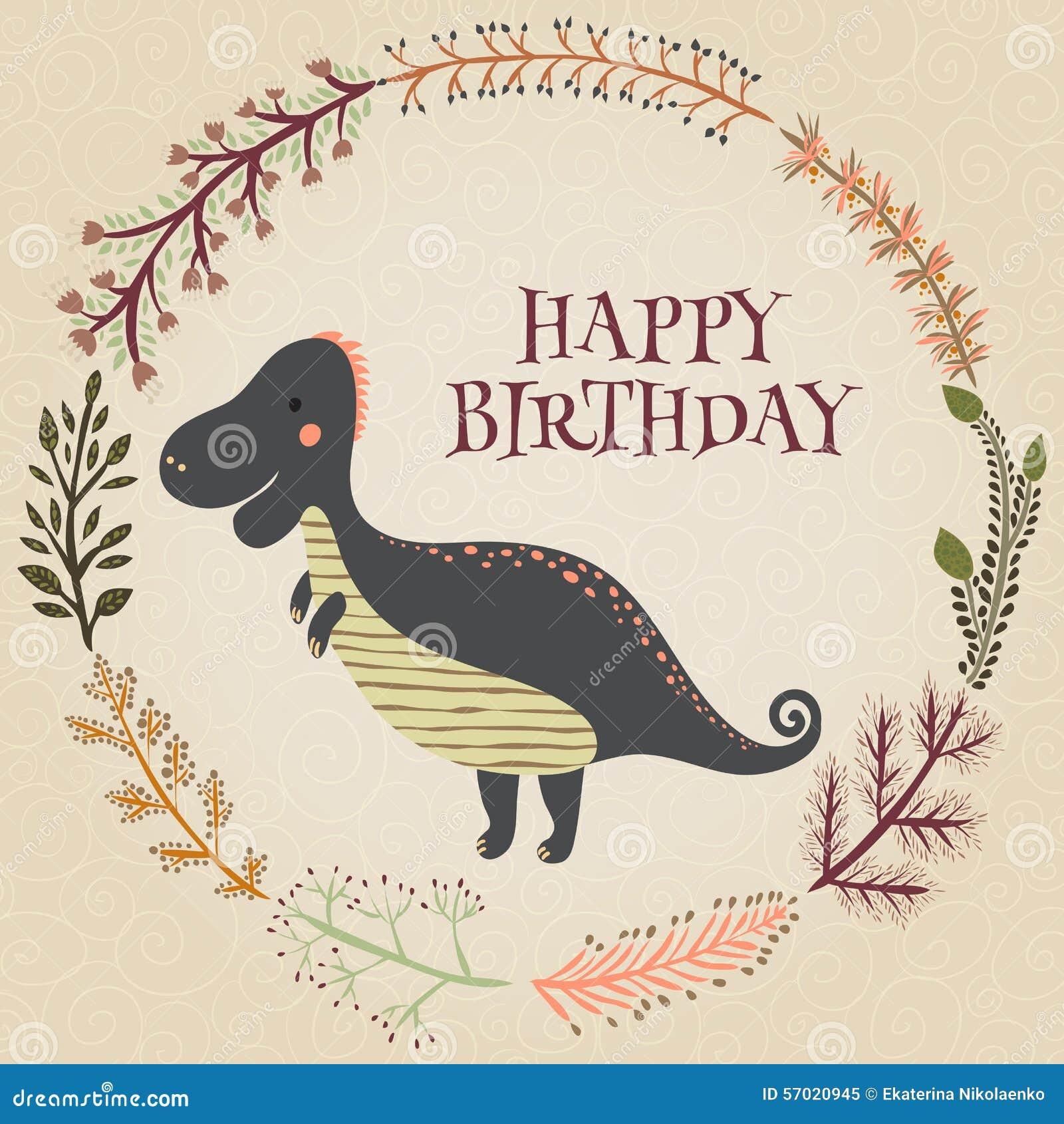 belle carte de joyeux anniversaire dans le vecteur carte inspir e douce avec le dinosaure de. Black Bedroom Furniture Sets. Home Design Ideas