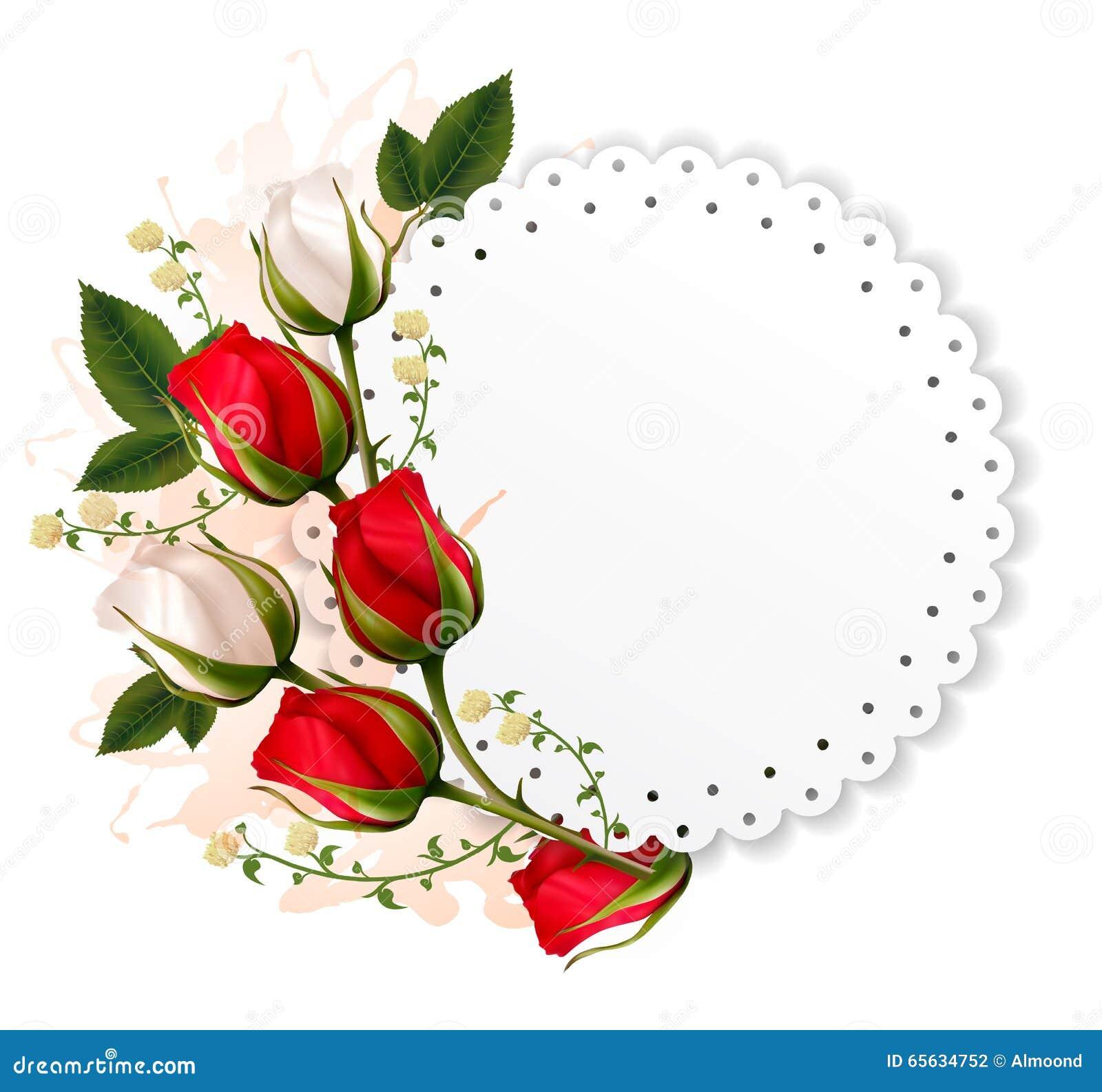 Belle carte de vacances avec les roses rouges et blanches