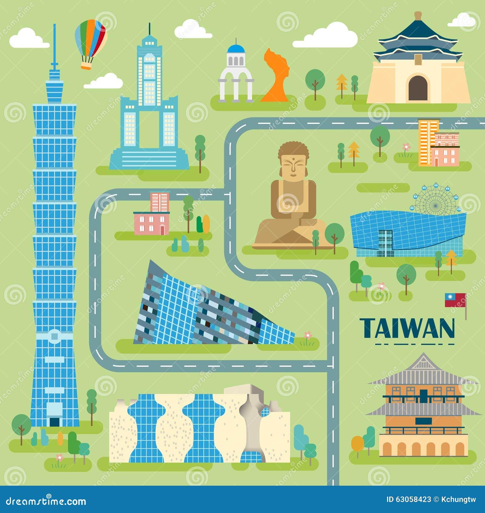 Belle carte de voyage de Taïwan