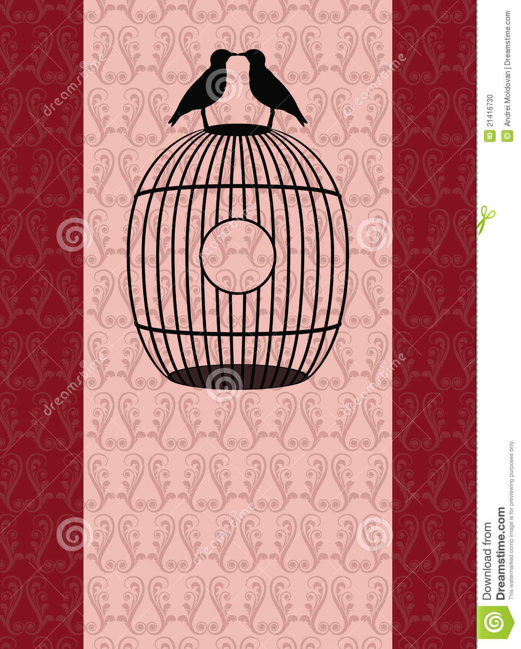 belle carte romantique avec des oiseaux sur une cage d. Black Bedroom Furniture Sets. Home Design Ideas