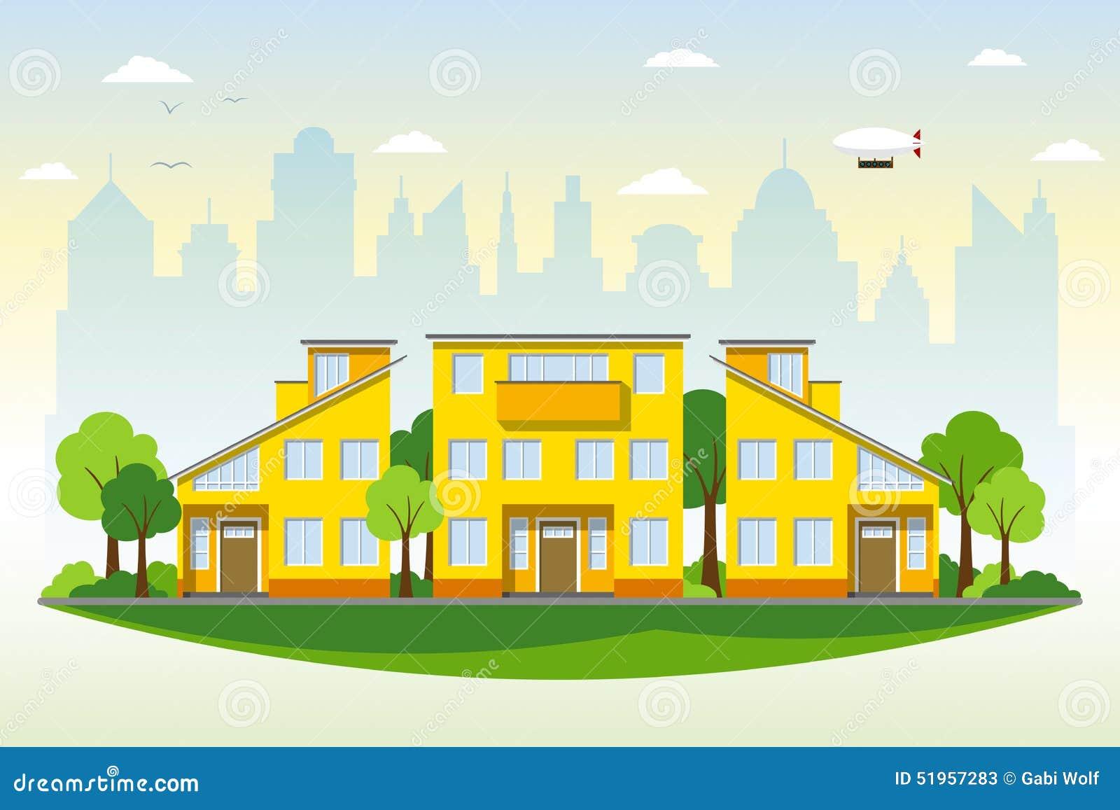 Belle case moderne illustrazione vettoriale illustrazione for Belle case moderne