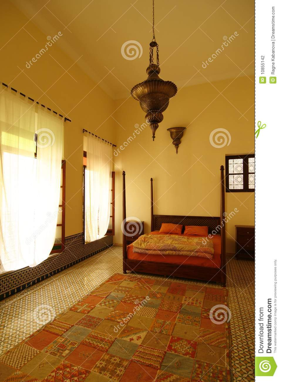 belle chambre coucher arabe authentique maroc photographie stock image 10855142. Black Bedroom Furniture Sets. Home Design Ideas