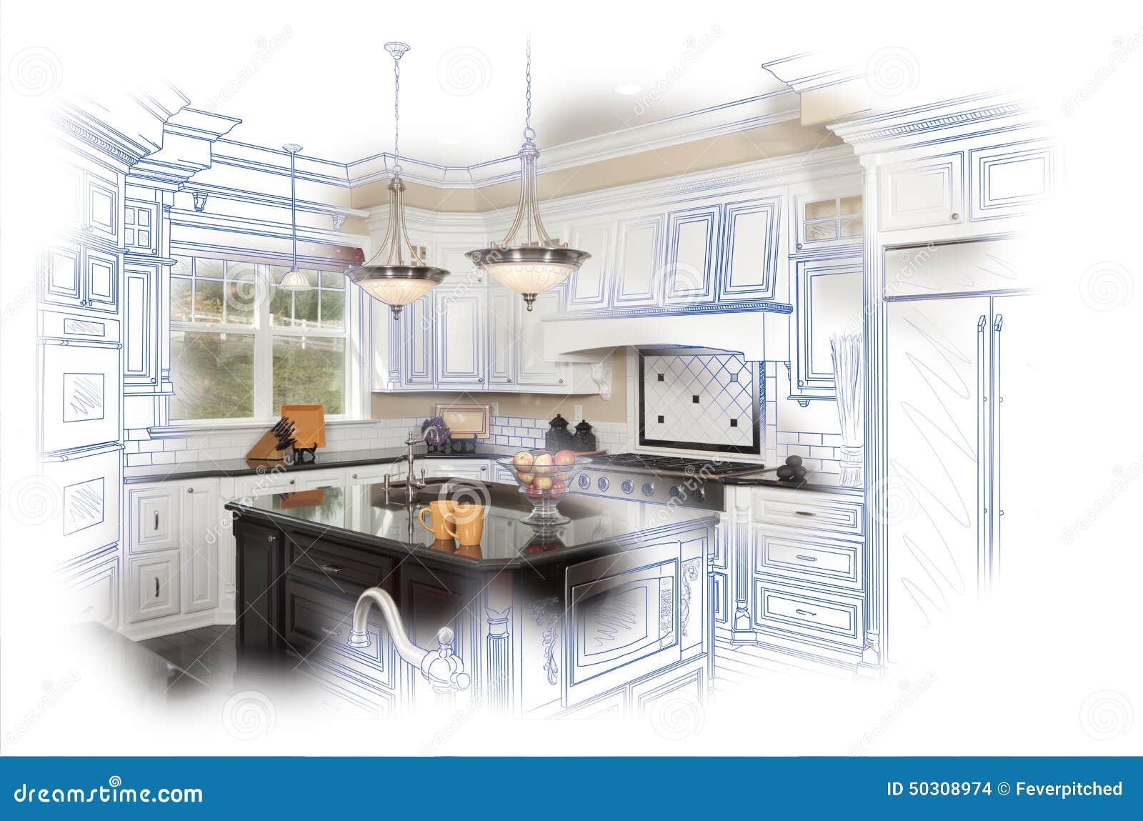 belle combinaison faite sur commande de dessin et de photo d 39 tude de cuisine illustration stock. Black Bedroom Furniture Sets. Home Design Ideas