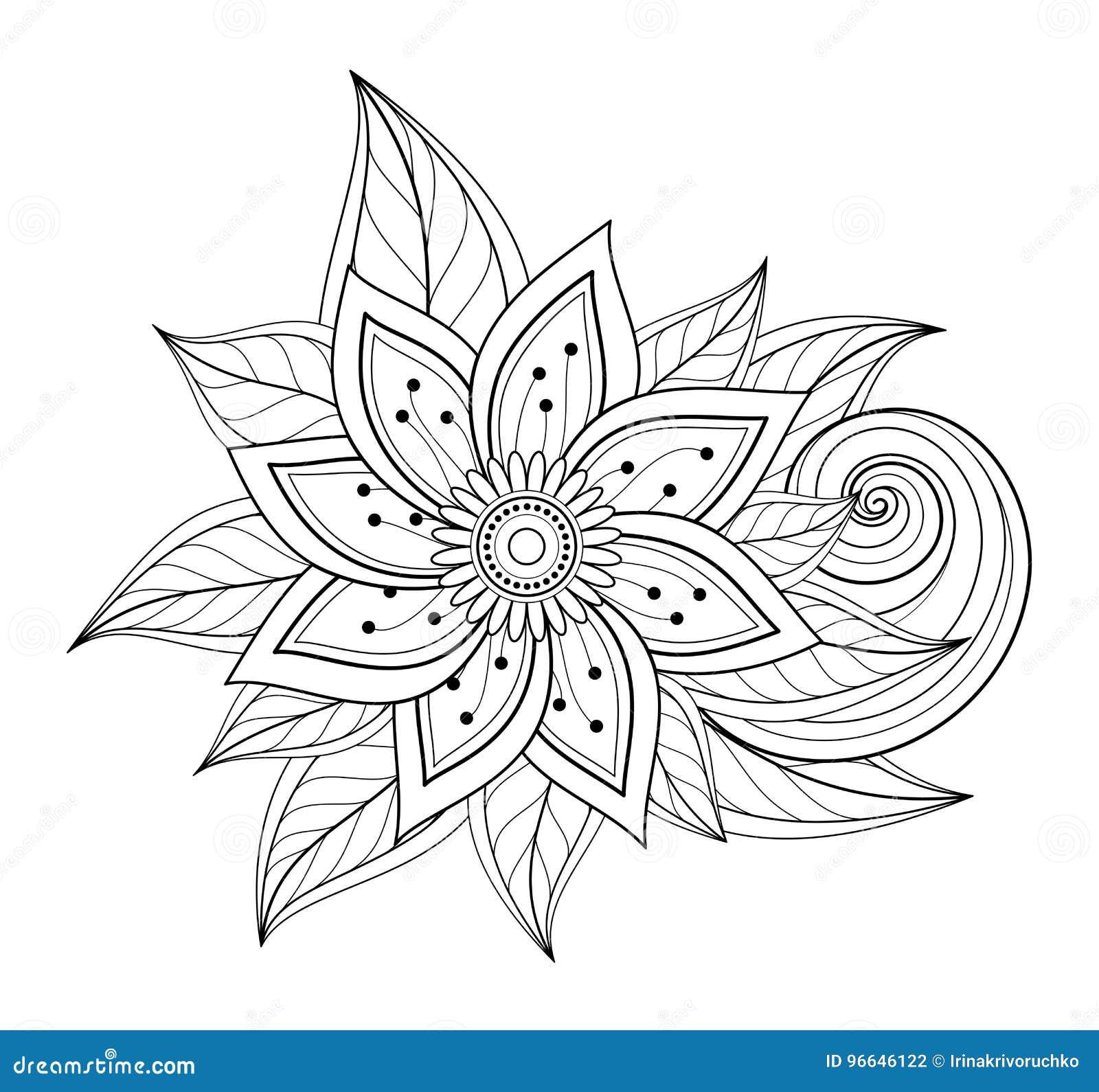 Belle composition florale monochrome abstraite en vecteur