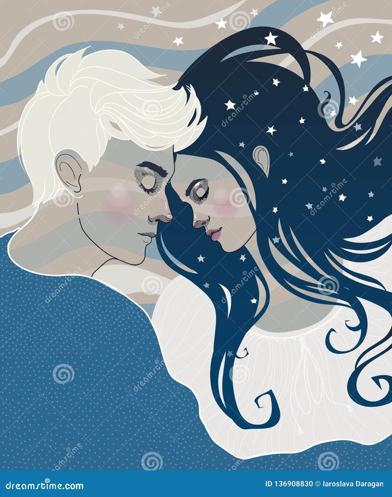 Belle coppie nel sonno del ragazzo e della ragazza di amore