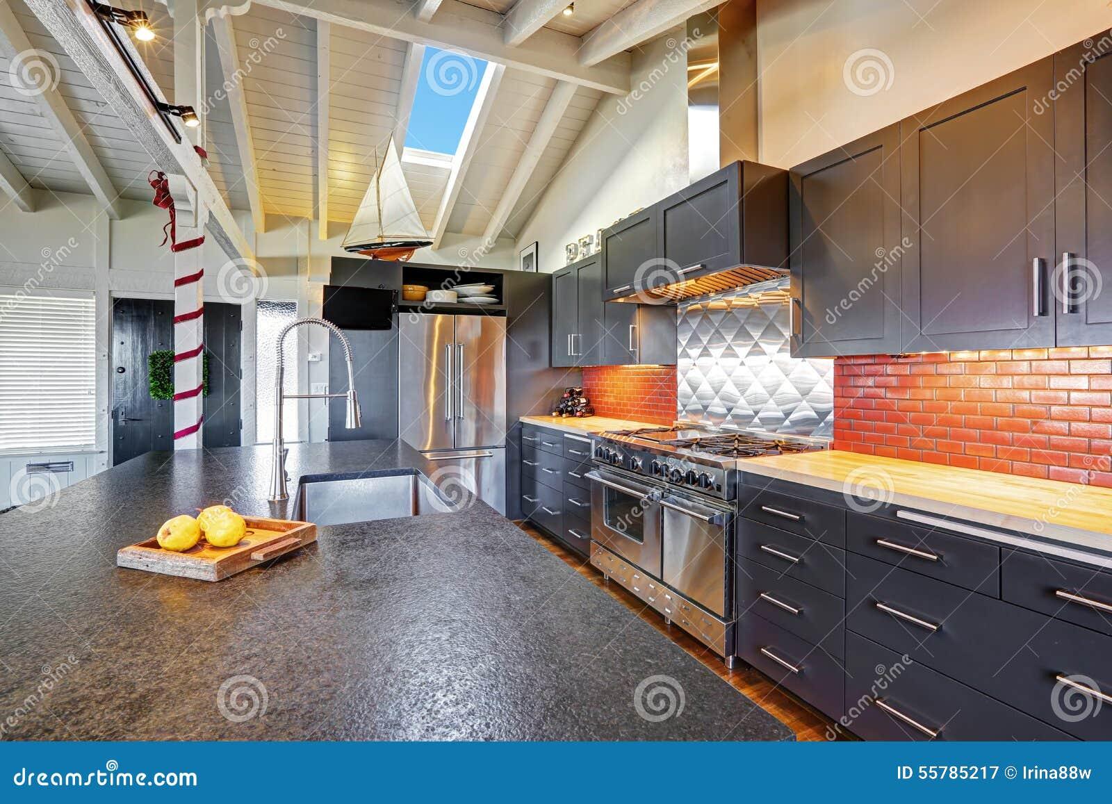Belle cuisine moderne fonc e de luxe avec le plafond en for Belle cuisine moderne