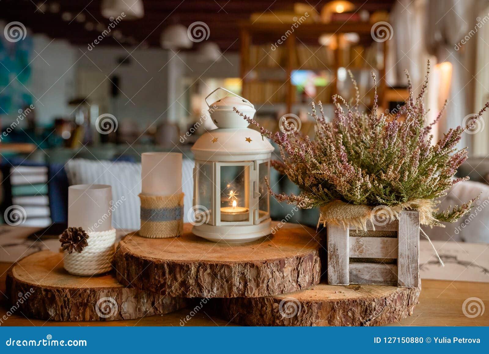 Deco De Table Bougie belle décoration élégante de table d'automne blanc - bruyère