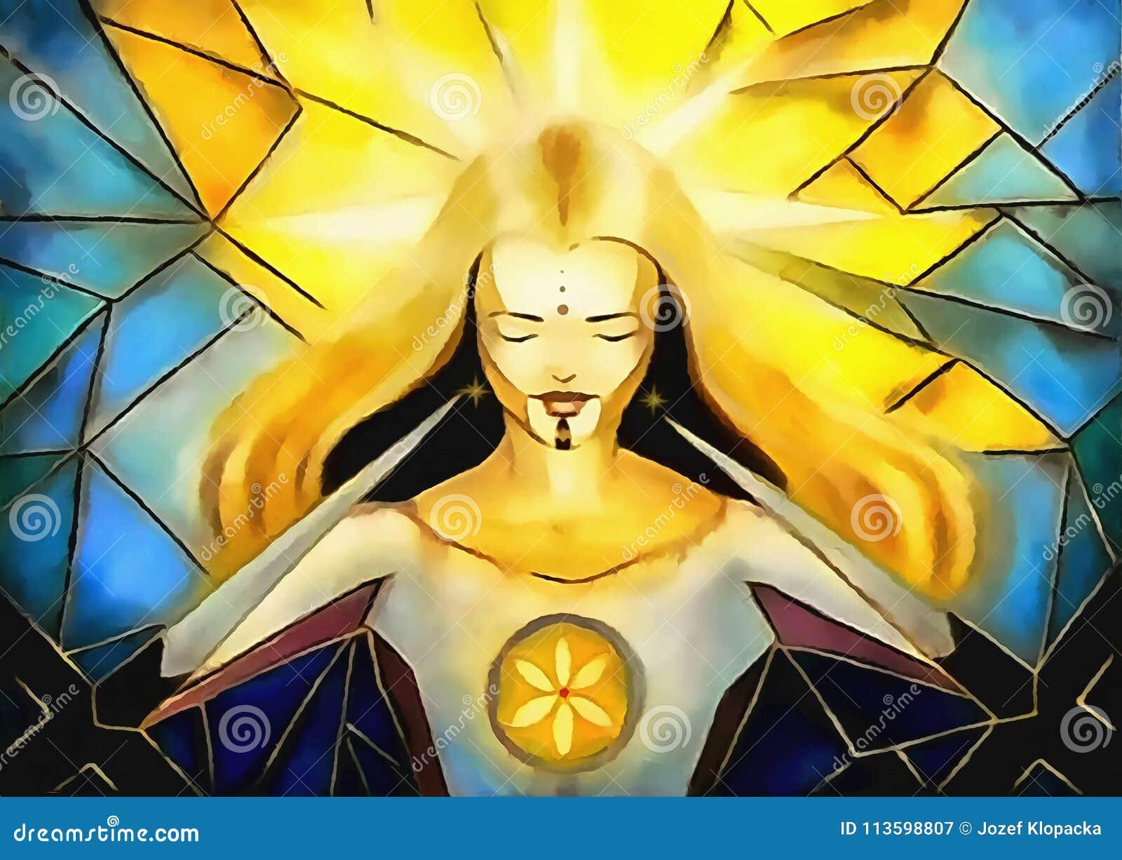 Belle déesse lumineuse de lumière et de vie se rachetant des dorns des croix, peinture de style de mosaïque