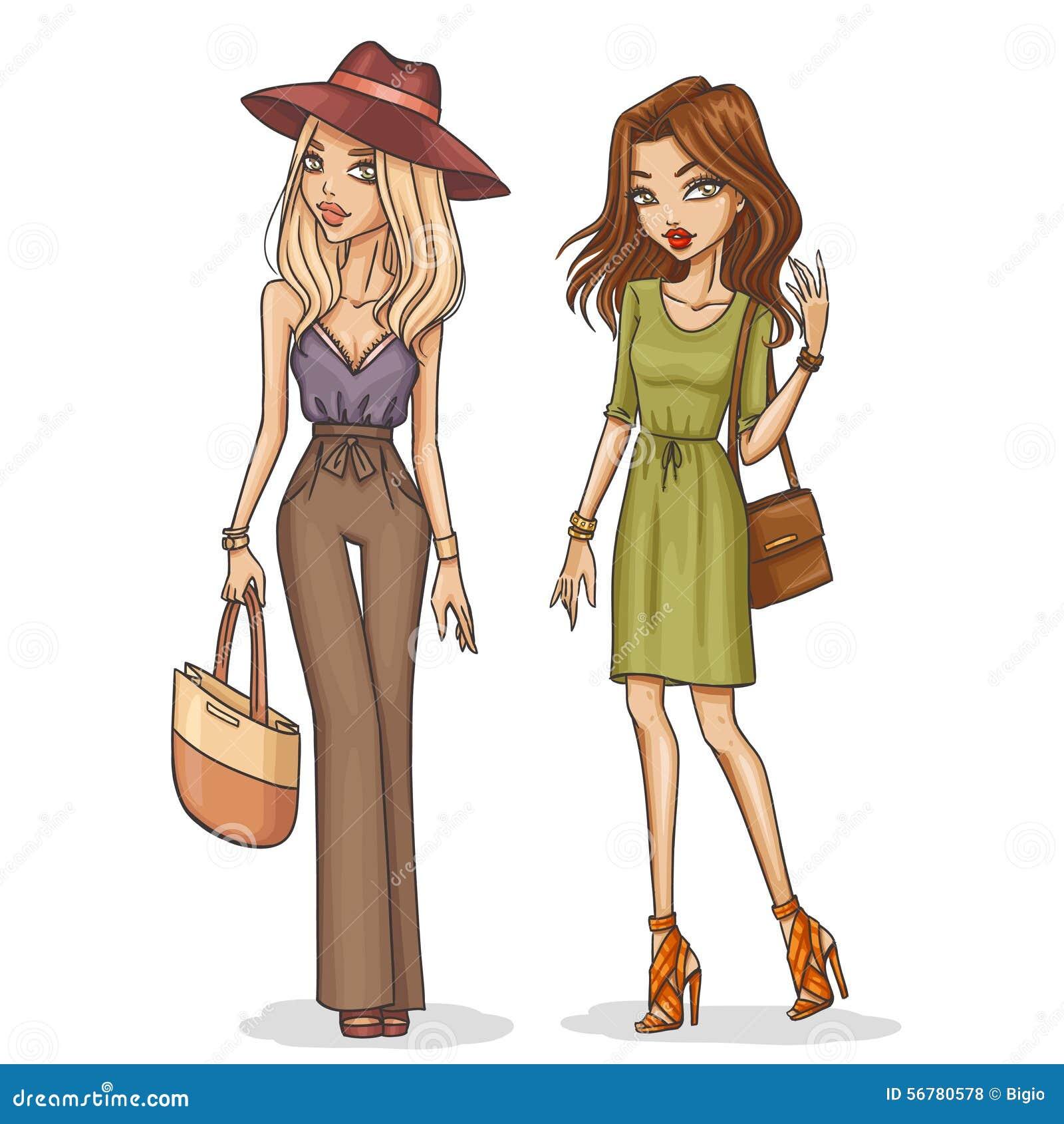 Belle e ragazze alla moda di modo illustrazione vettoriale for Disegni di casa alla moda