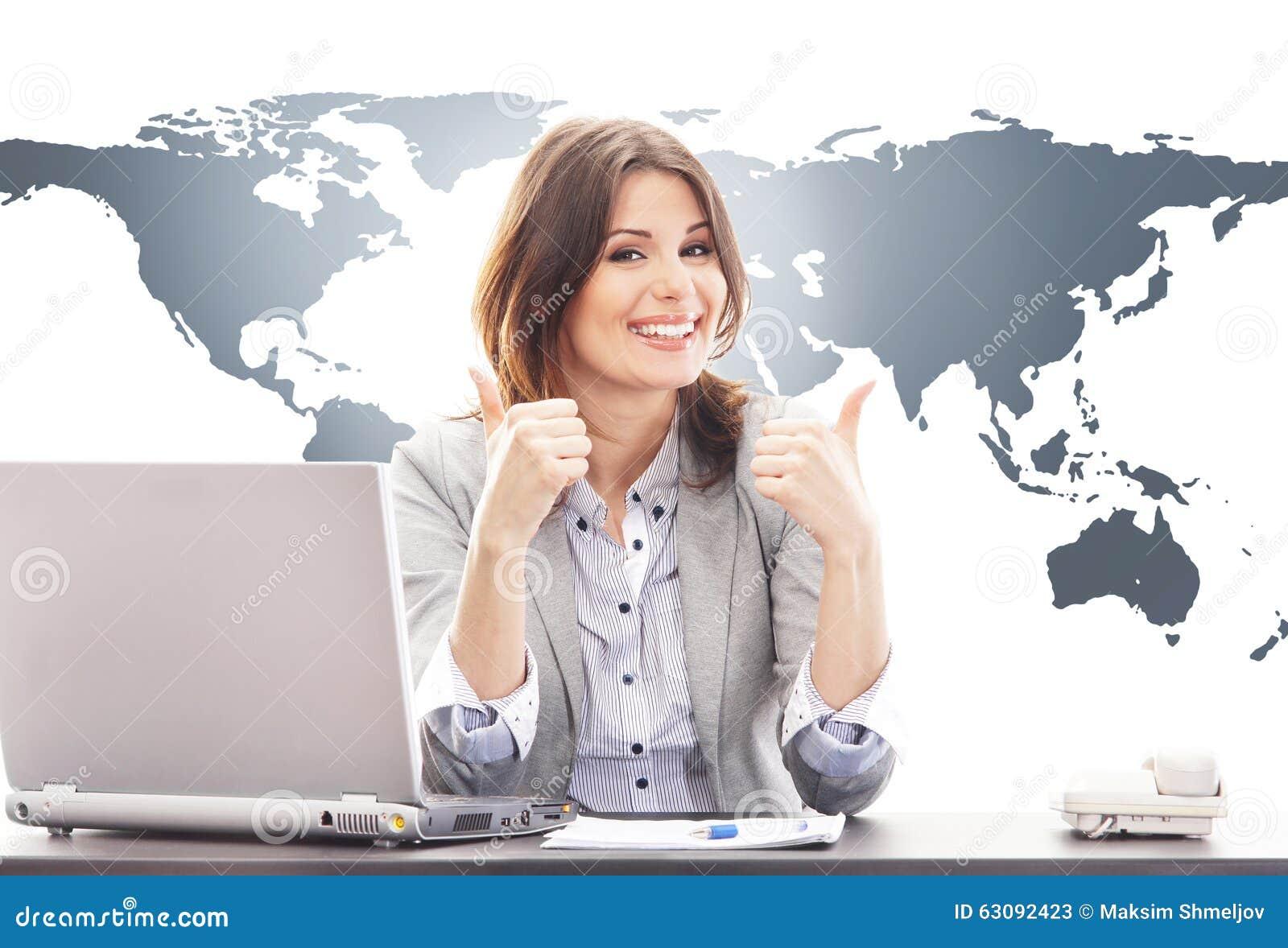 Download Belle Femme D'affaires Avec Des Pouces Image stock - Image du international, beau: 63092423