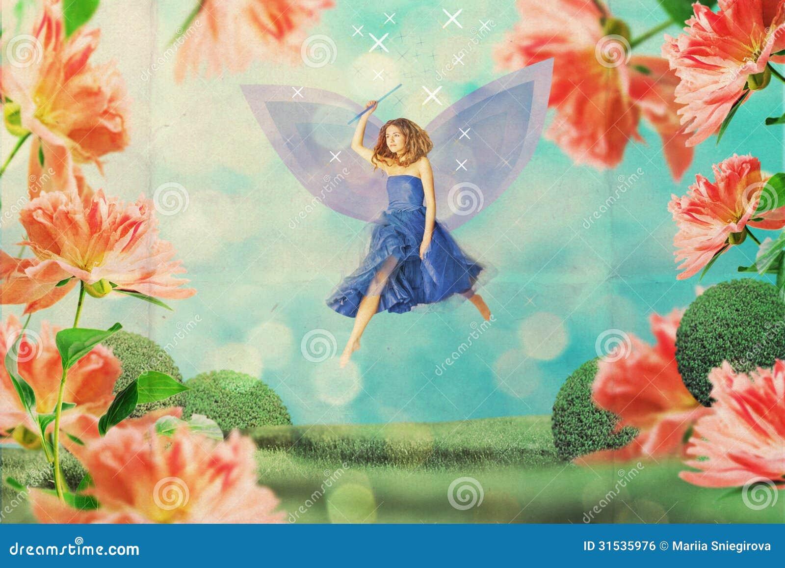 Belle femme dans le jardin f erique en fleurs photo stock for Fleurs dans le jardin