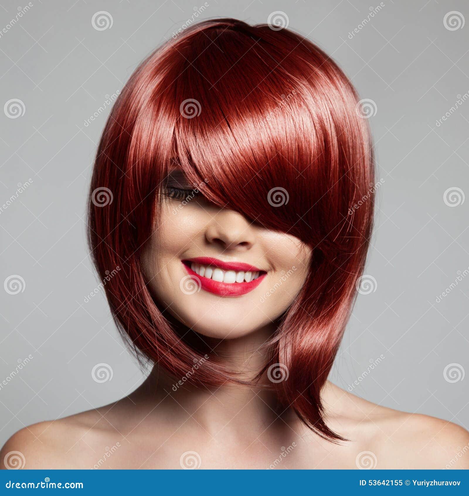 Coiffure Rouge De Femme De Cheveux Images libres de droits - Image ...