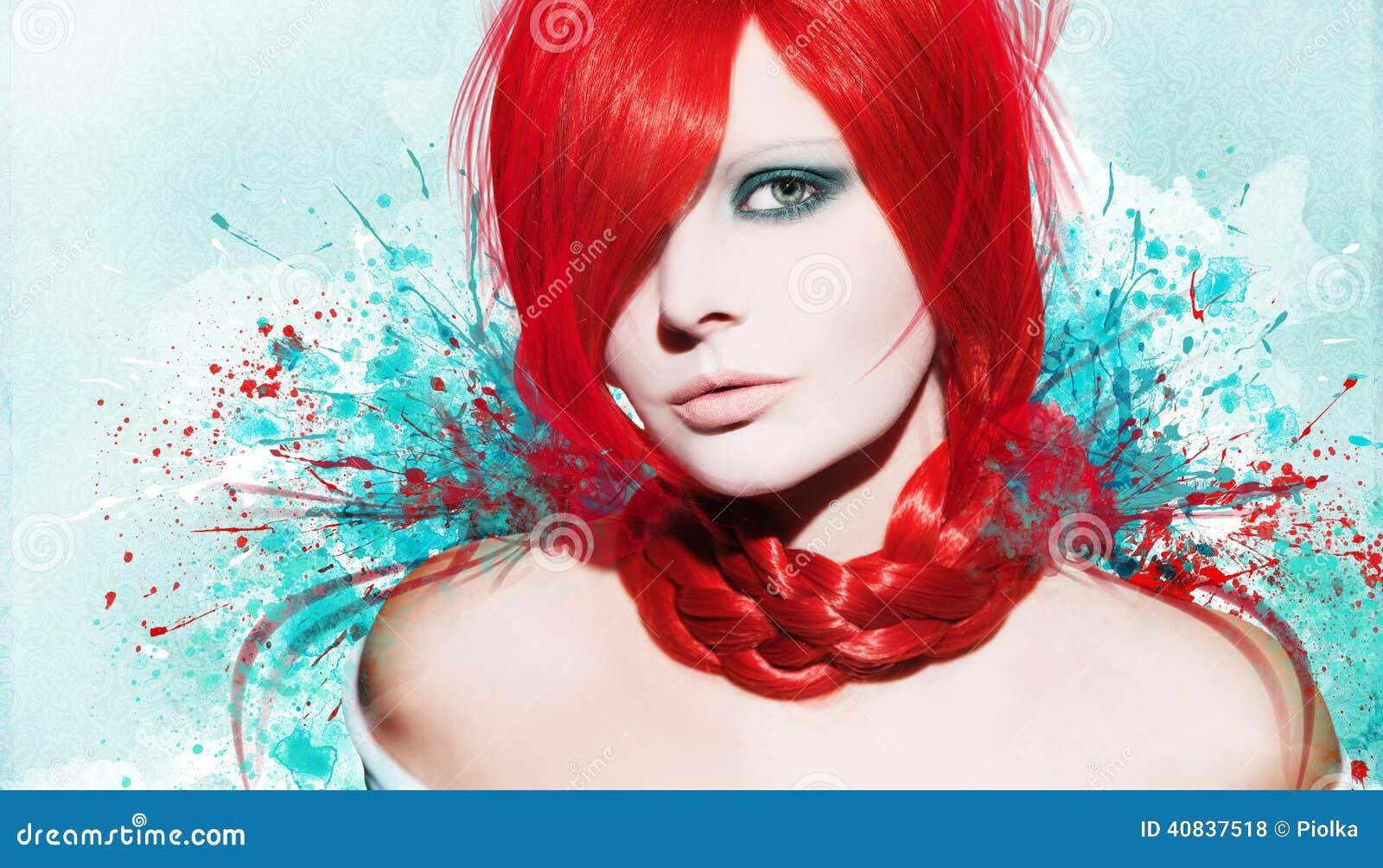 Belle femme, illustration avec l encre dans le style grunge