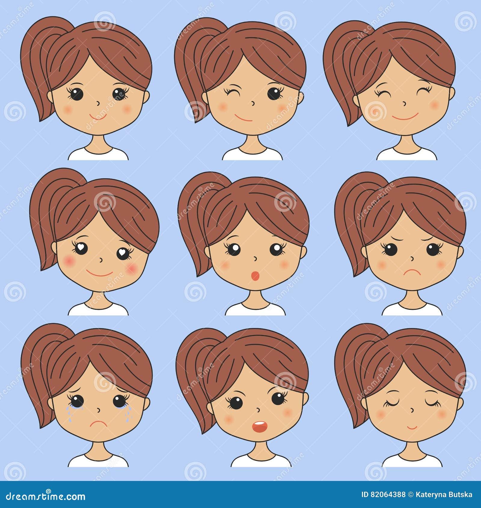 Belle femme montrant de diverses expressions du visage Heureux, triste, fâché, cri, sourire Icônes de fille de bande dessinée rég