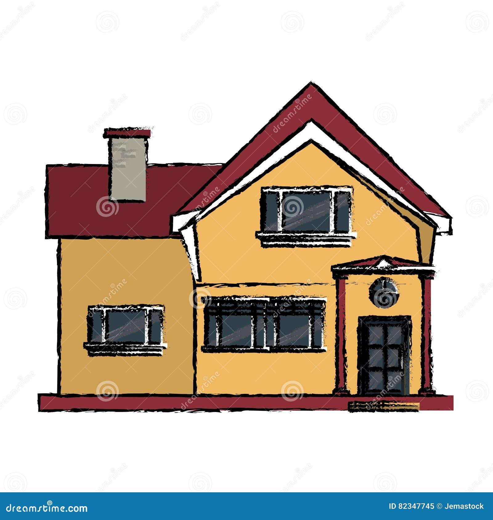 Belle fen tre la maison de dessin de chemin e gentille - Toit de maison dessin ...