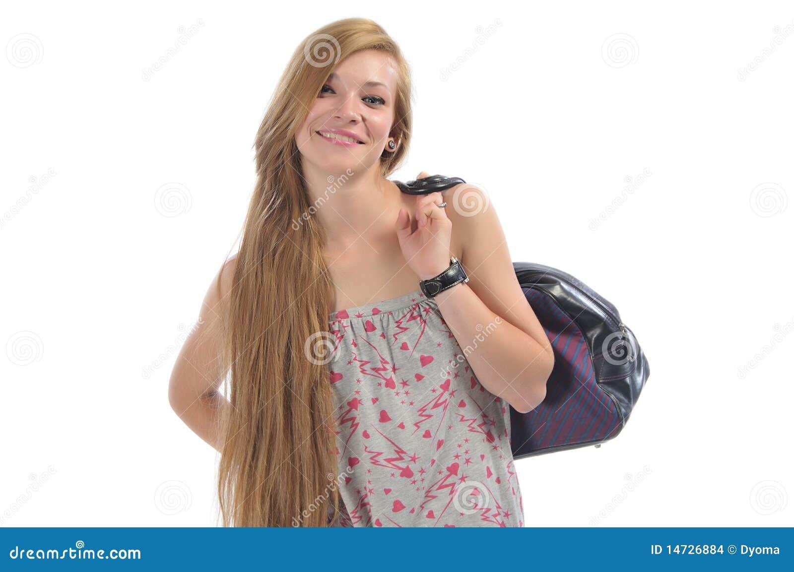 belle fille aux cheveux longs avec le sac de route images stock image 14726884. Black Bedroom Furniture Sets. Home Design Ideas