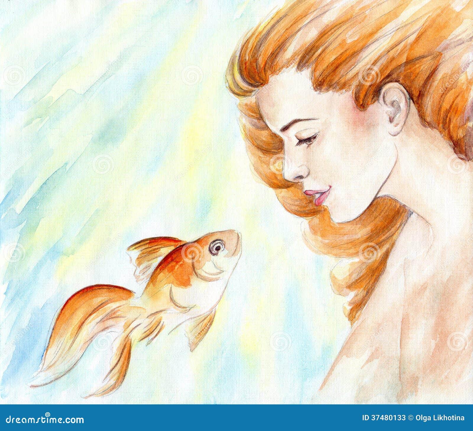 Belle Fille Avec Les Cheveux Et Le Poisson Rouge Rouges Dans L 39 Eau Aquarelle Photos Stock