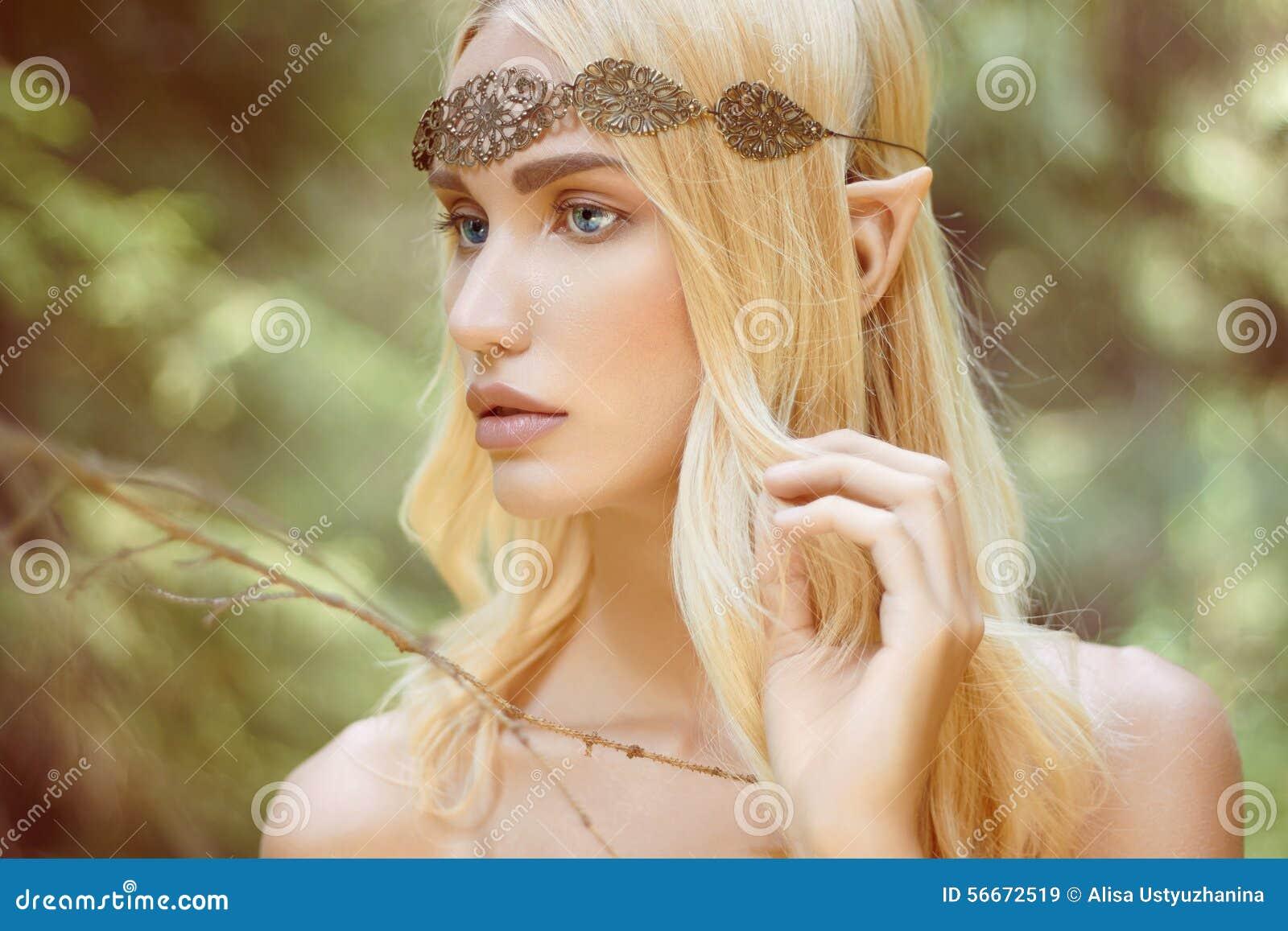 Belle Fille D Elfe D Imagination En Bois Image Stock