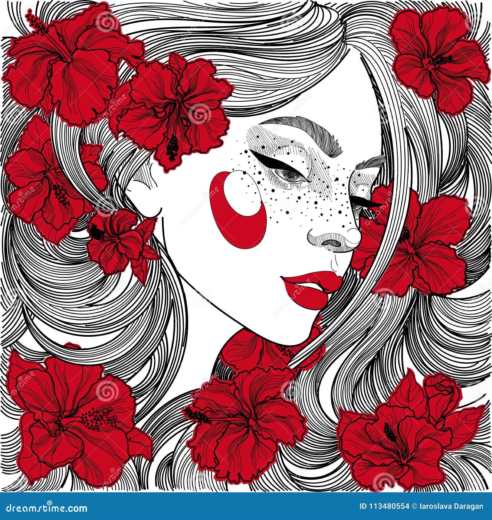 Belle Fille Dans Le Profil Avec Les Fleurs Rouges Dans Les Cheveux