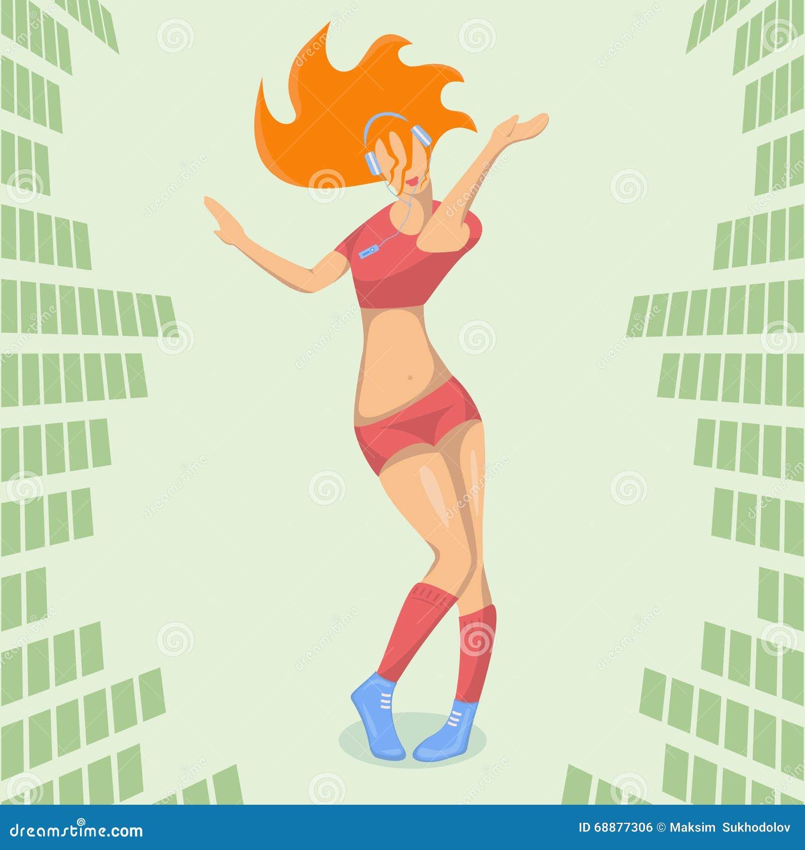 Belle fille dansant en musique électronique