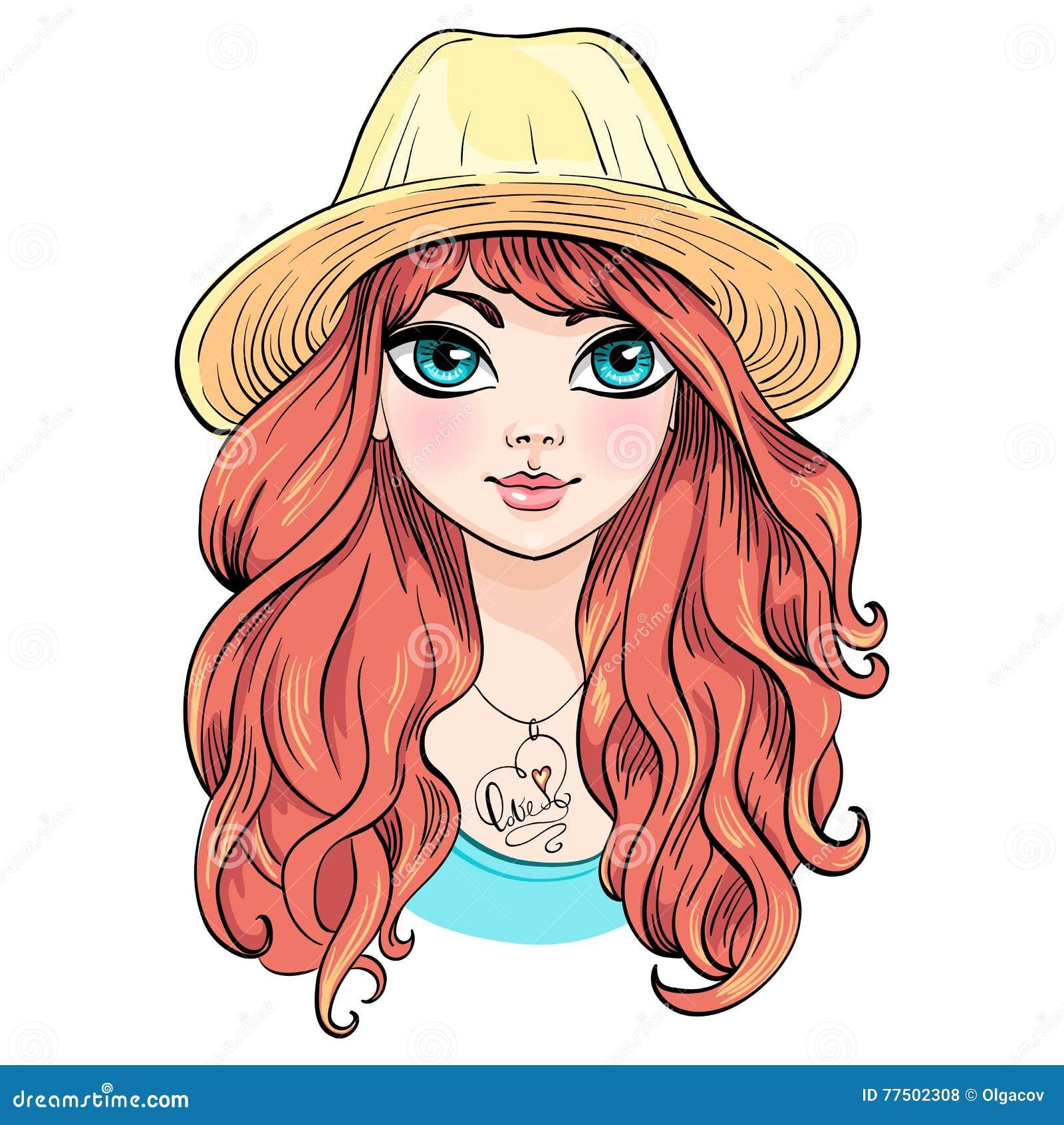 Belle fille de mode de vecteur dans le chapeau